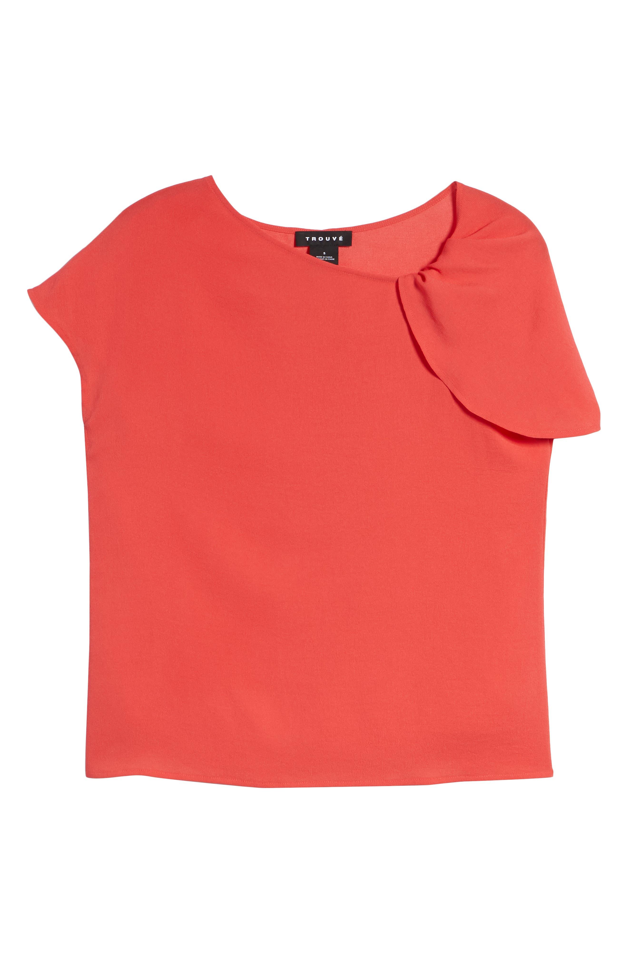 Asymmetrical Shoulder Top,                             Alternate thumbnail 7, color,                             Red Hibiscus