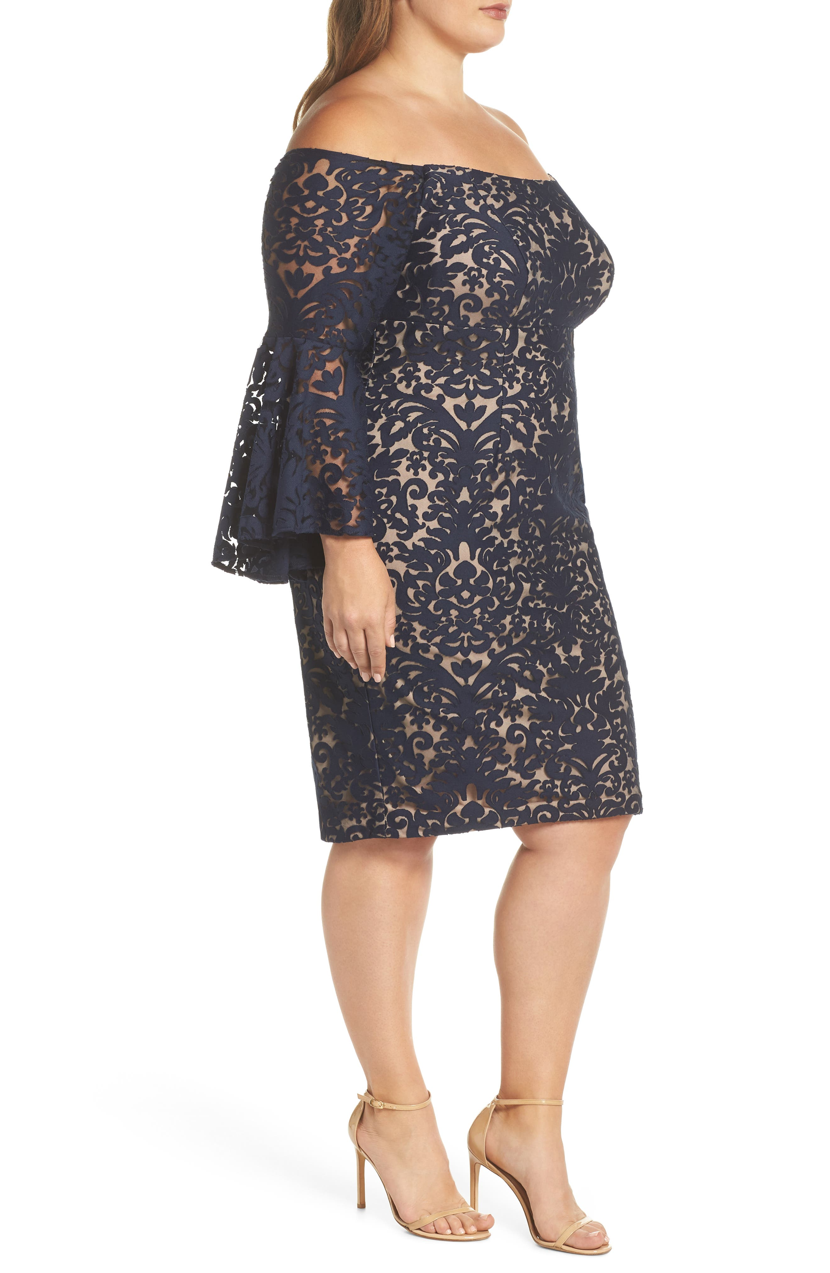 Bell Sleeve Off the Shoulder Burnout Lace Dress,                             Alternate thumbnail 3, color,                             Navy/ Nude