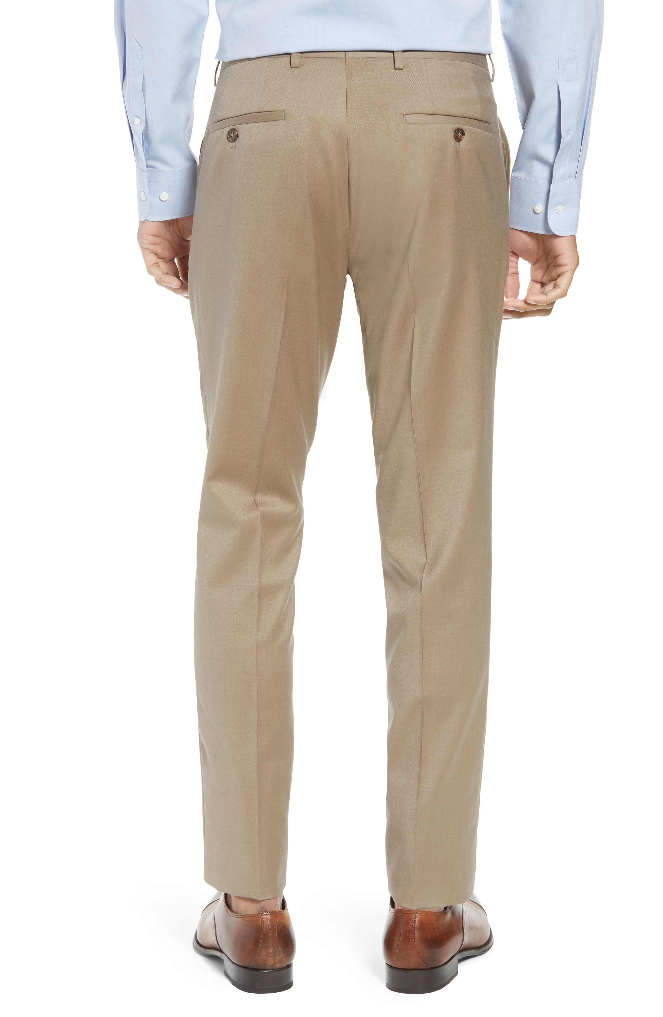 Flat Front Tech-Smart Extra Trim Trousers,                             Alternate thumbnail 2, color,                             Tan