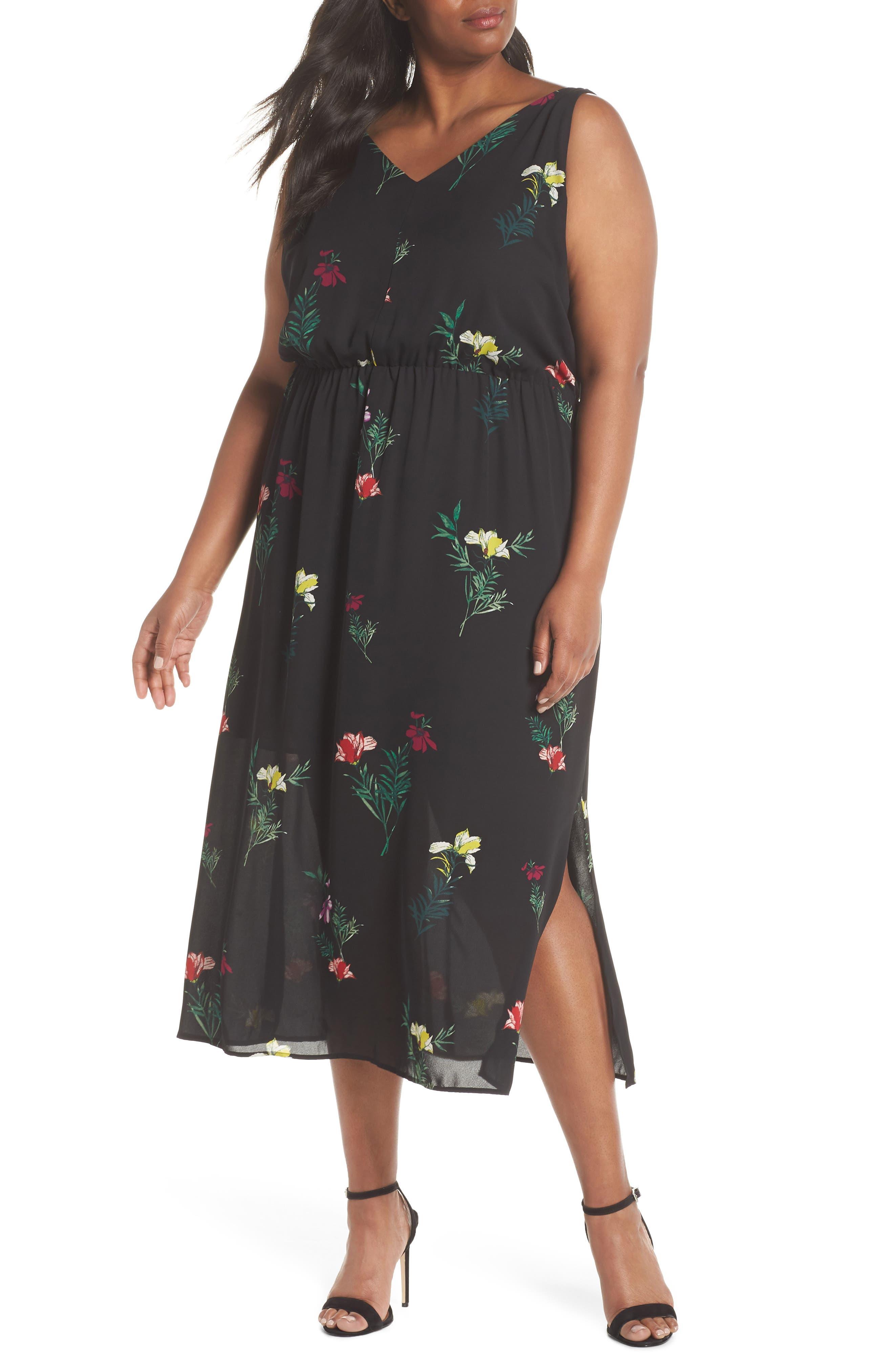 Tropical Garden Midi Dress,                             Main thumbnail 1, color,                             Rich Black