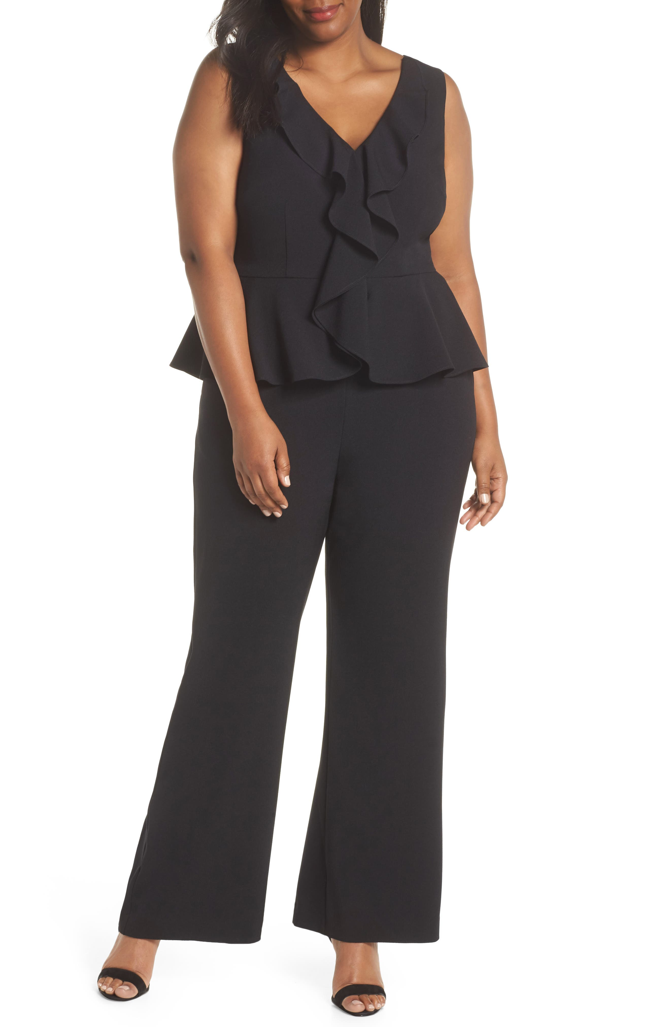 SLEEVELESS PEPLUM JUMPSUIT
