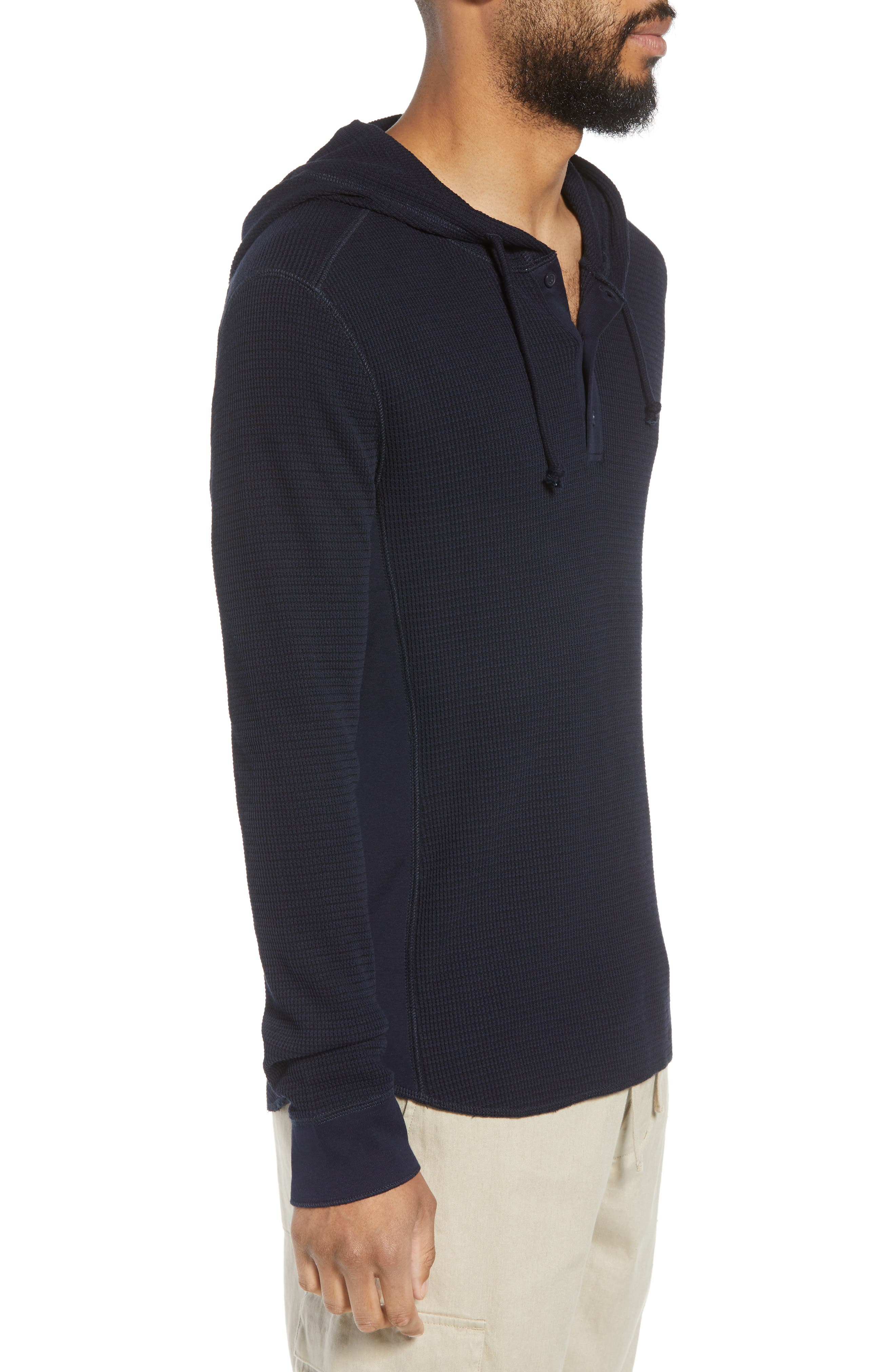 Regular Fit Thermal Knit Pullover Hoodie,                             Alternate thumbnail 3, color,                             New Coastal