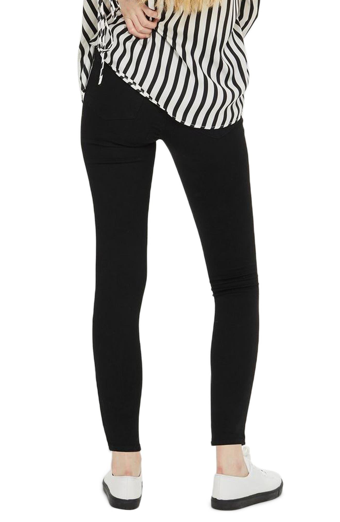 MOTO Leigh Super Rip Jeans,                             Alternate thumbnail 3, color,                             Black