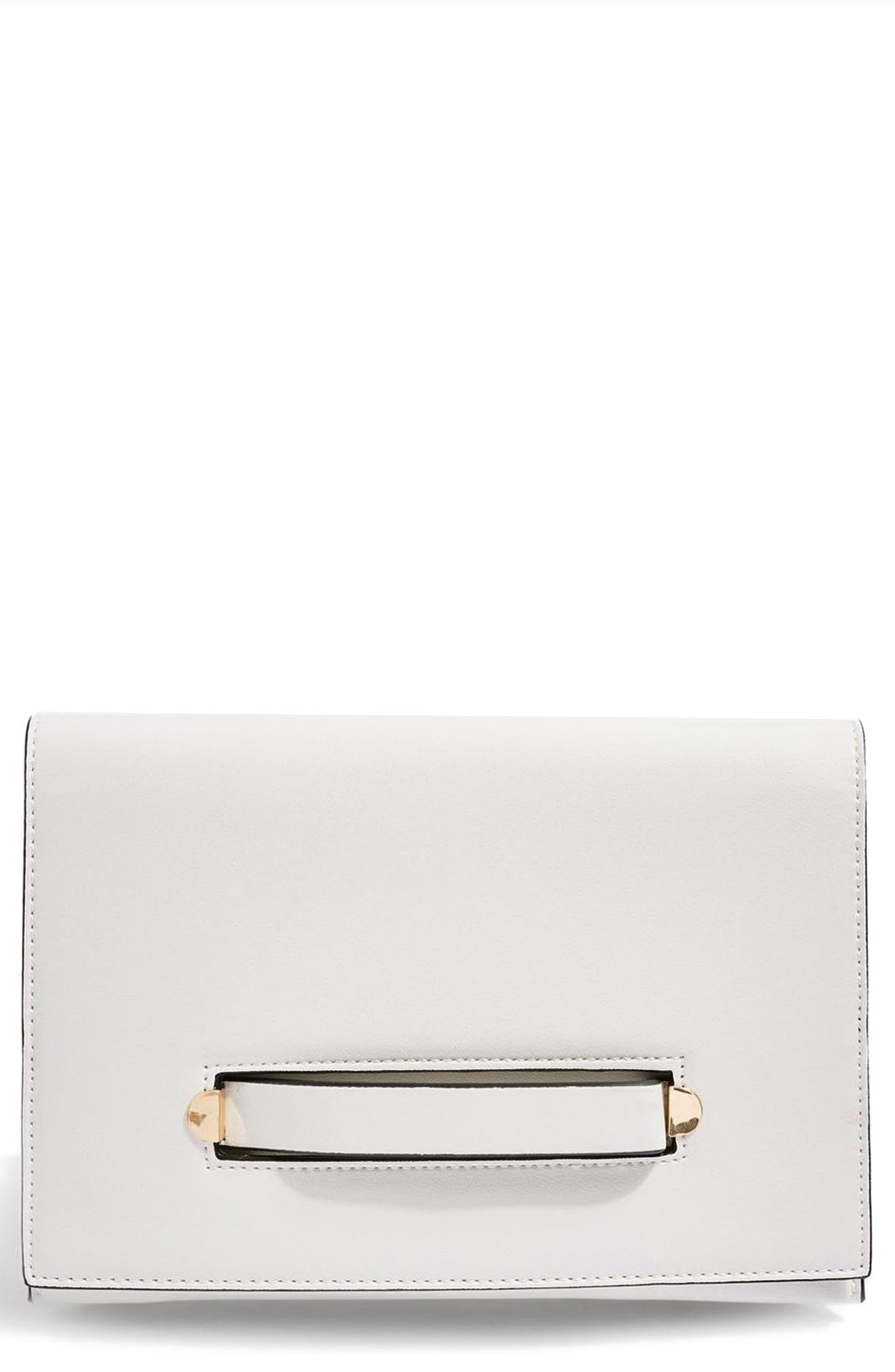 Brogan Tab Chain Clutch Bag,                             Main thumbnail 1, color,                             White