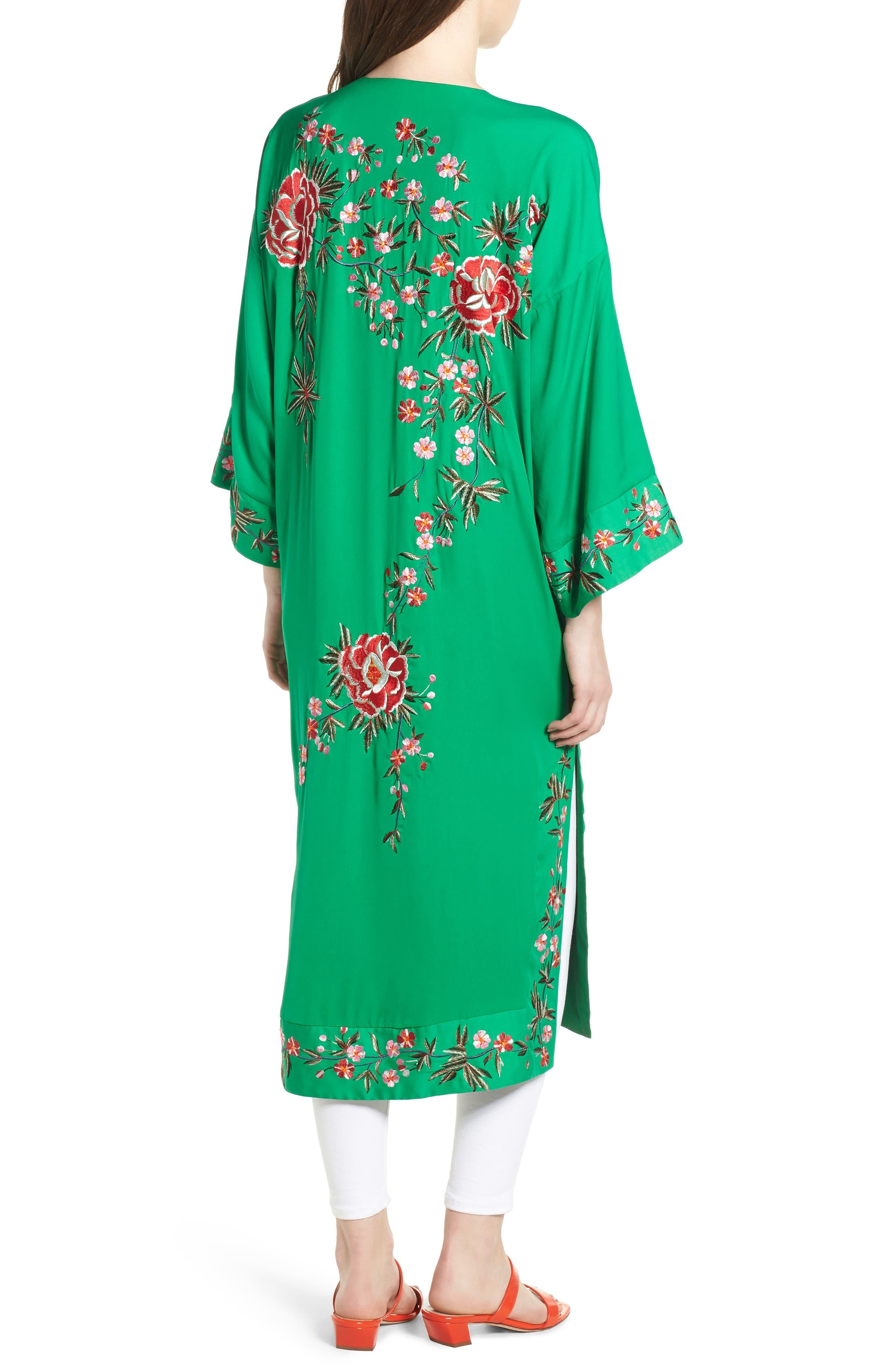 Floral Kimono,                             Alternate thumbnail 2, color,                             Green Multi