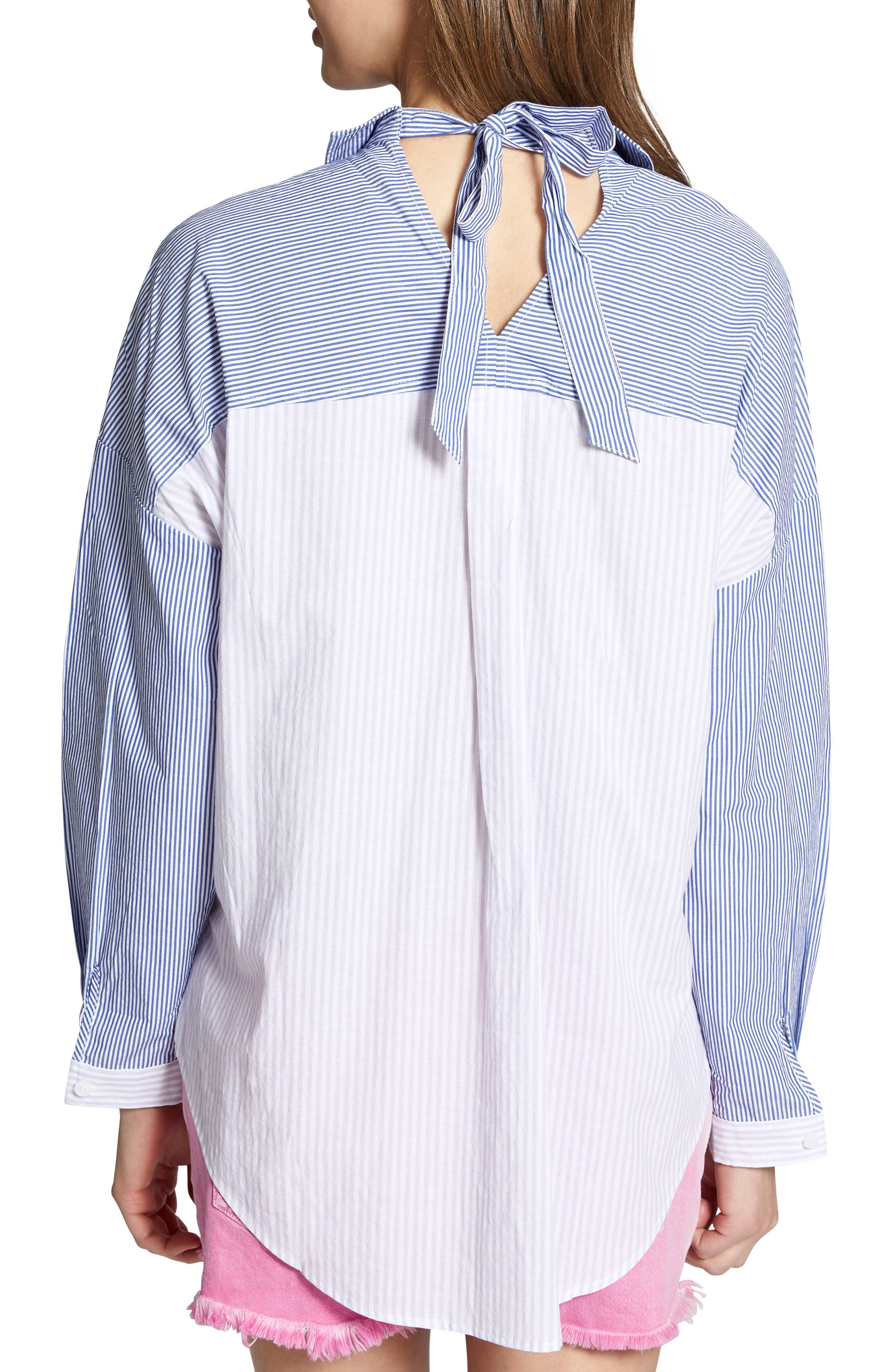Tie Back Mixed Stripe Boyfrend Shirt,                             Alternate thumbnail 2, color,                             Core Stripe
