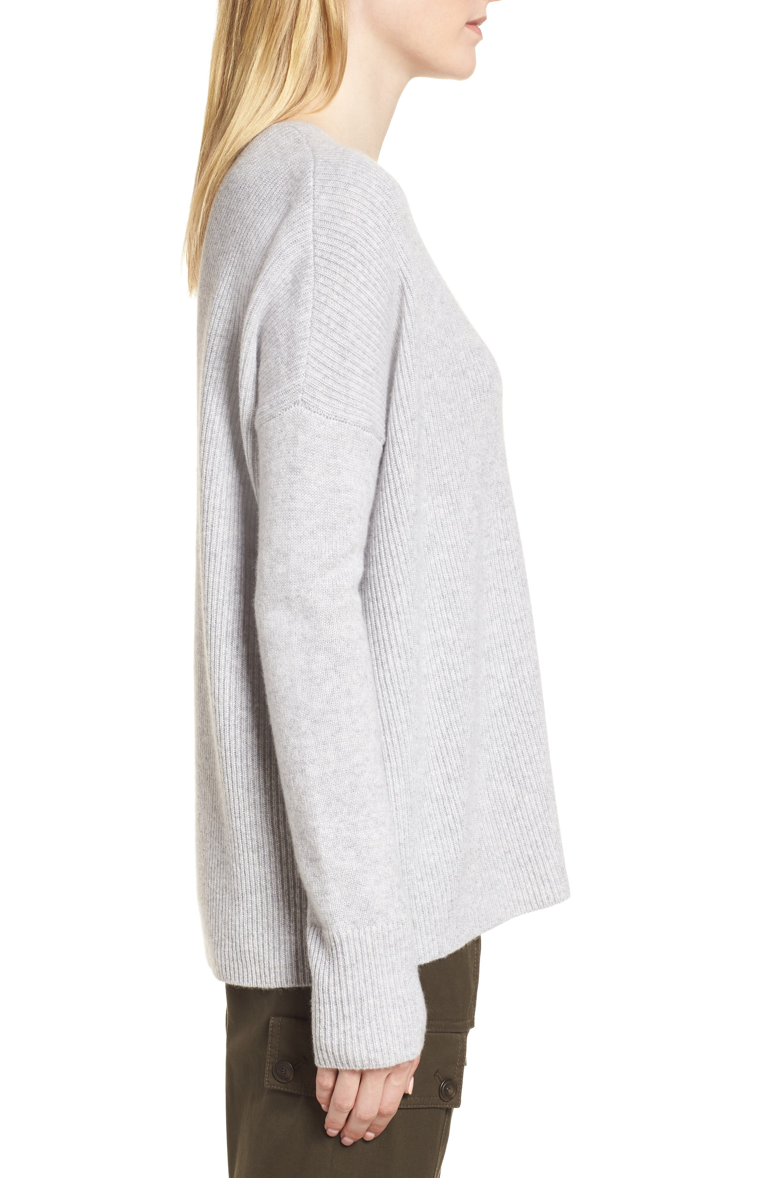 Cashmere Soft Ribbed Pullover Sweater,                             Alternate thumbnail 3, color,                             Grey Clay Heather