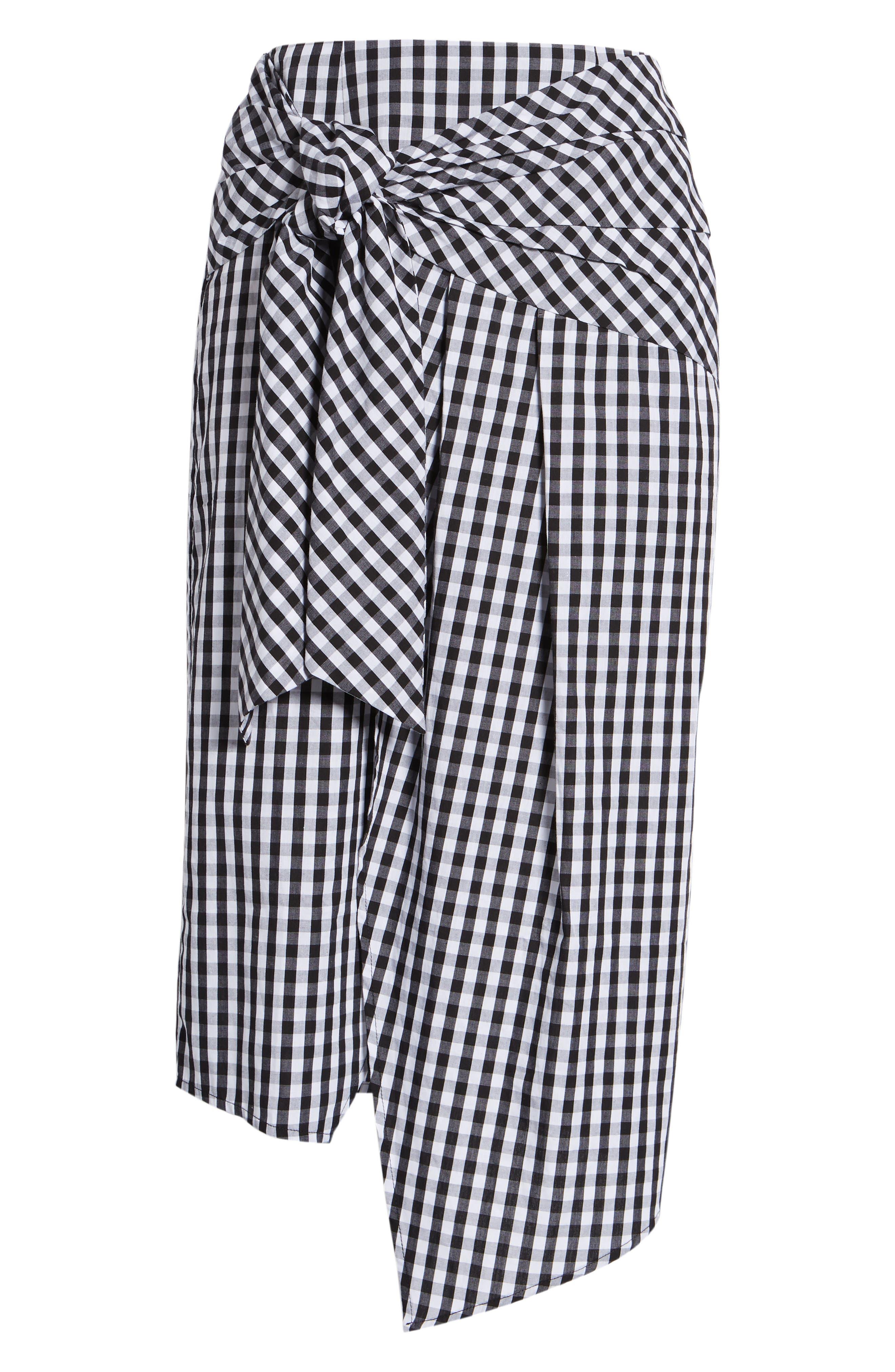 Gingham Tie Waist Skirt,                             Alternate thumbnail 6, color,                             Black/ White Gingham
