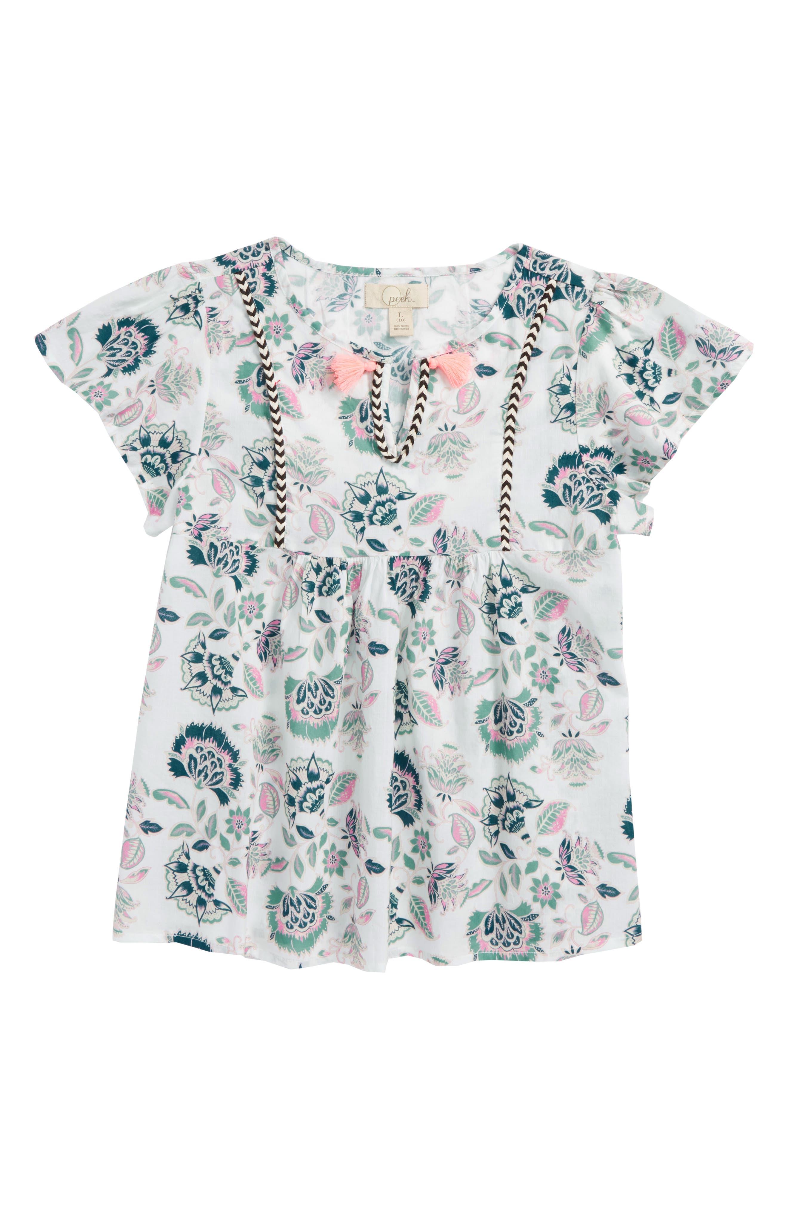 Stefani Floral Print Top,                         Main,                         color, White