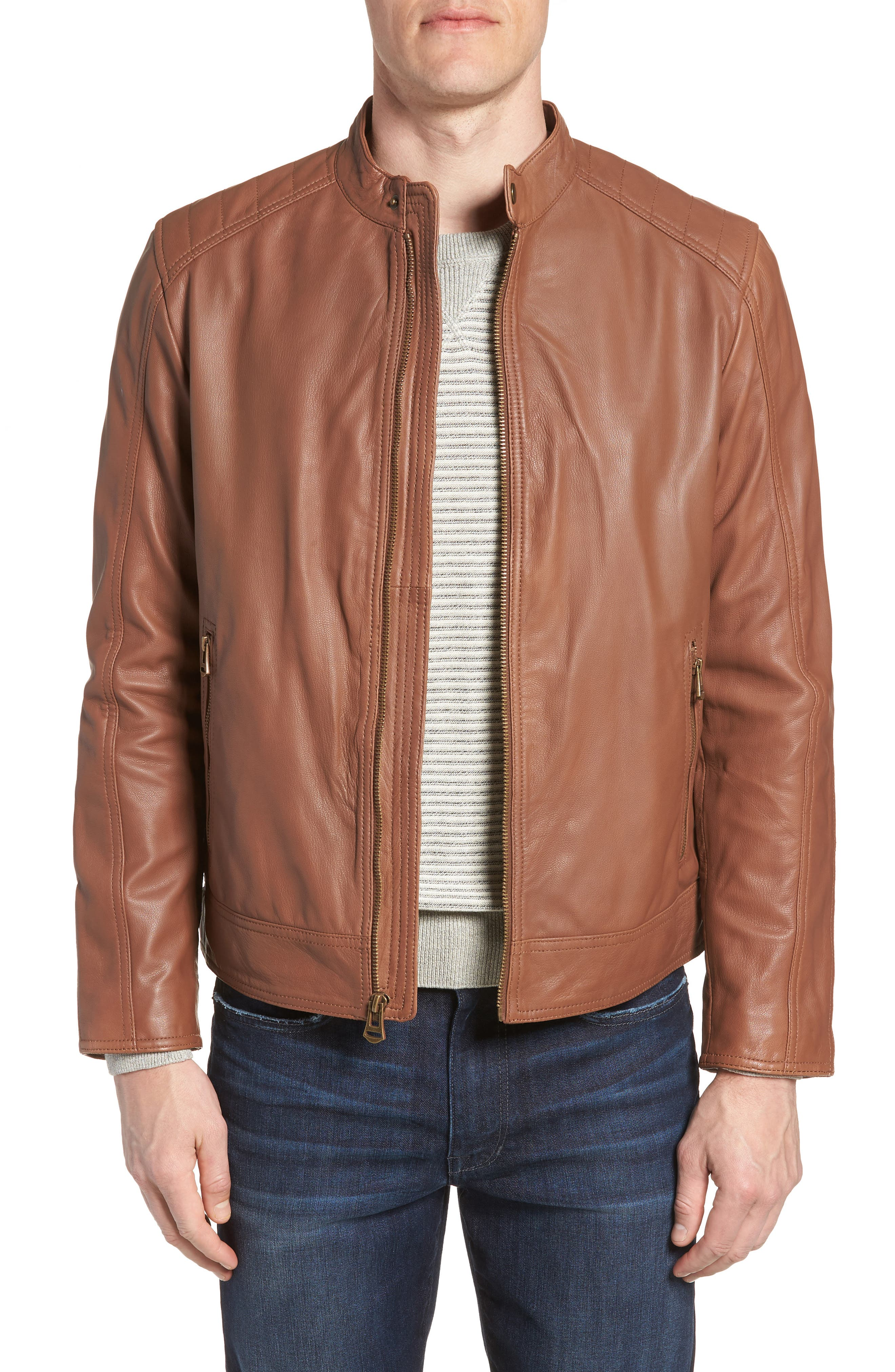 Washed Leather Moto Jacket,                             Main thumbnail 1, color,                             Cognac