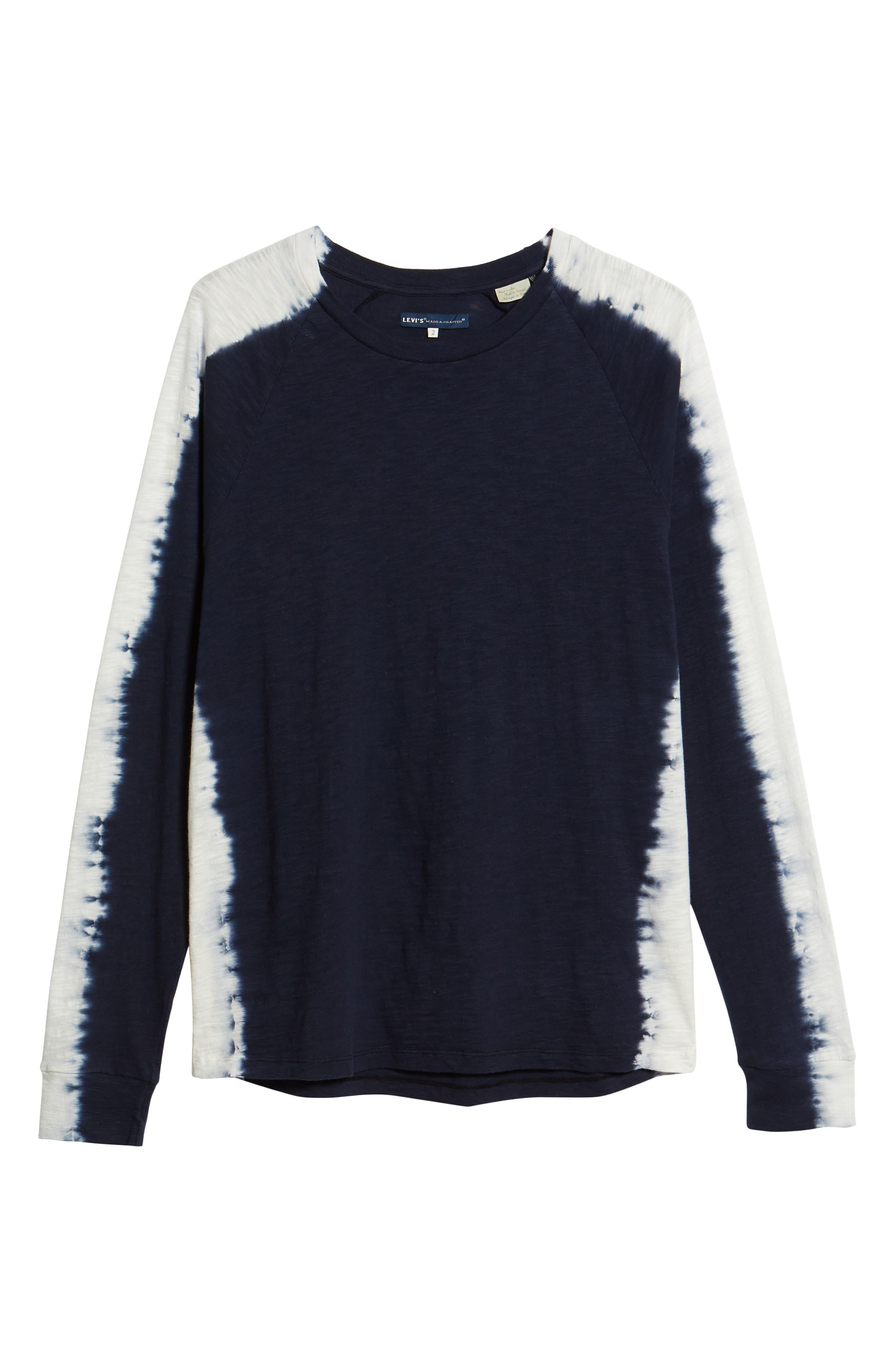 Raglan T-Shirt,                             Alternate thumbnail 6, color,                             Indigo Stripe Shibori Indigo