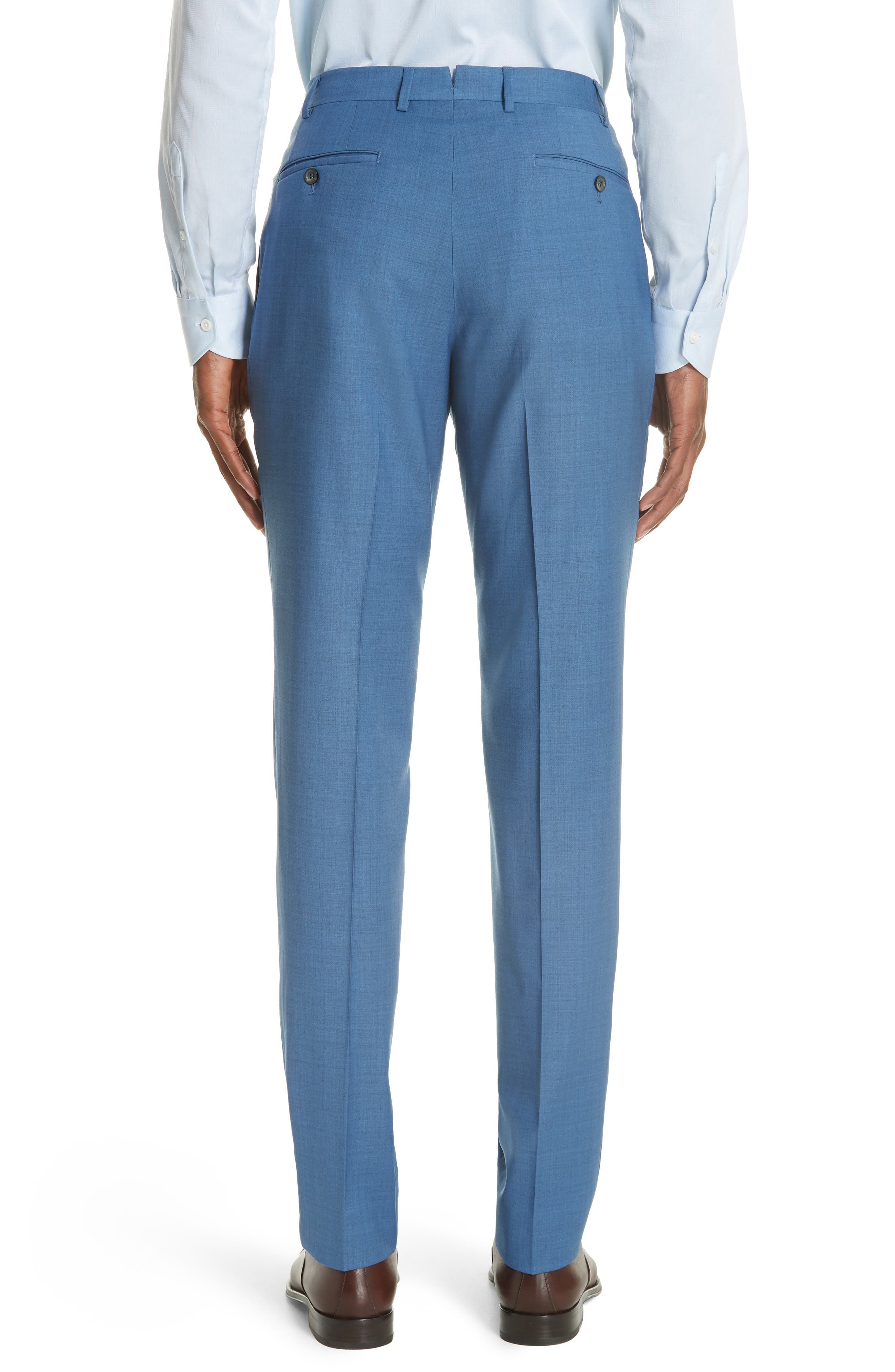 Kei Flat Front Solid Wool Trousers,                             Alternate thumbnail 2, color,                             Blue