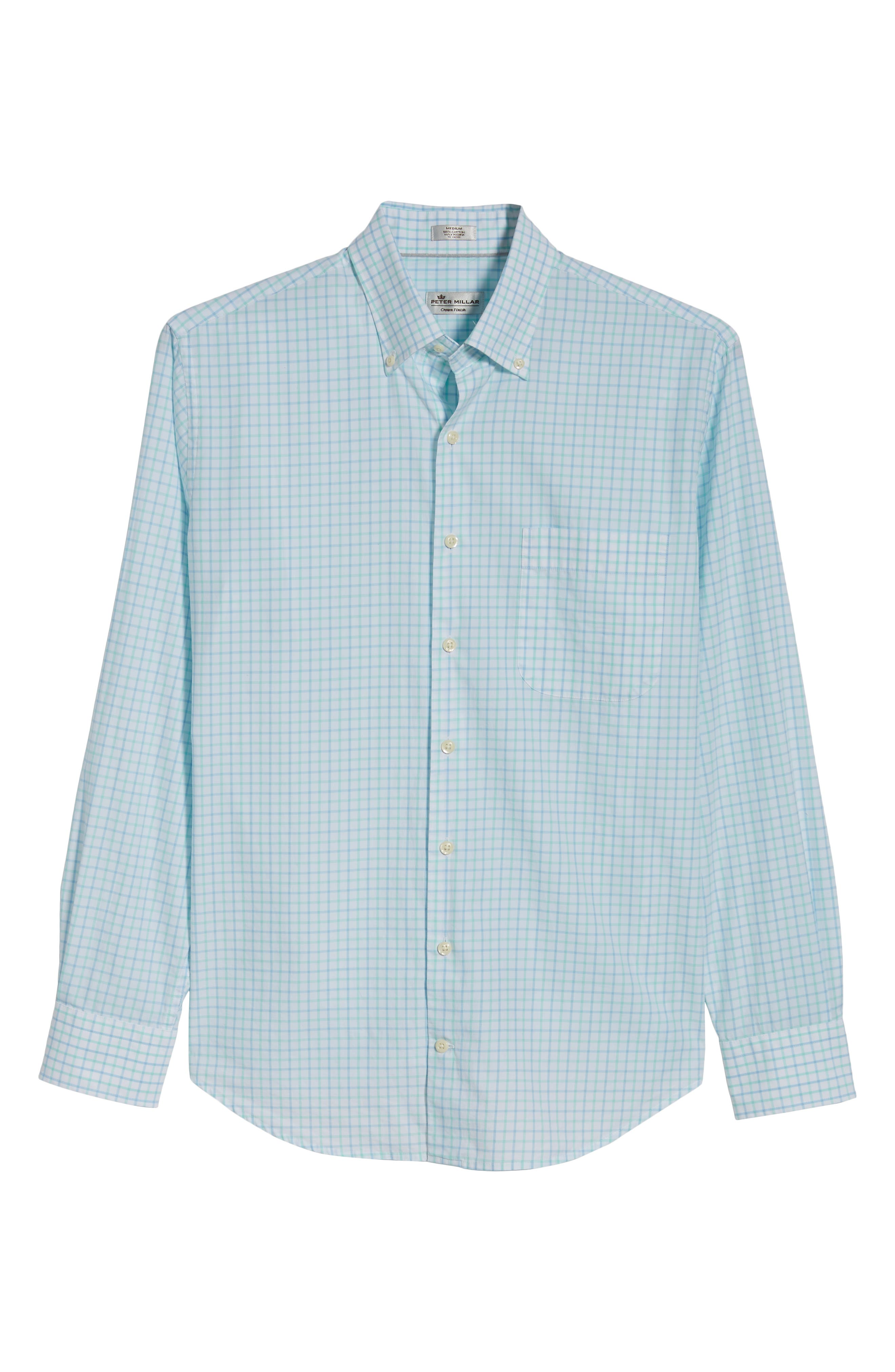 Crown Finish Wetland Tattersall Sport Shirt,                             Alternate thumbnail 6, color,                             Tar Heel Blue