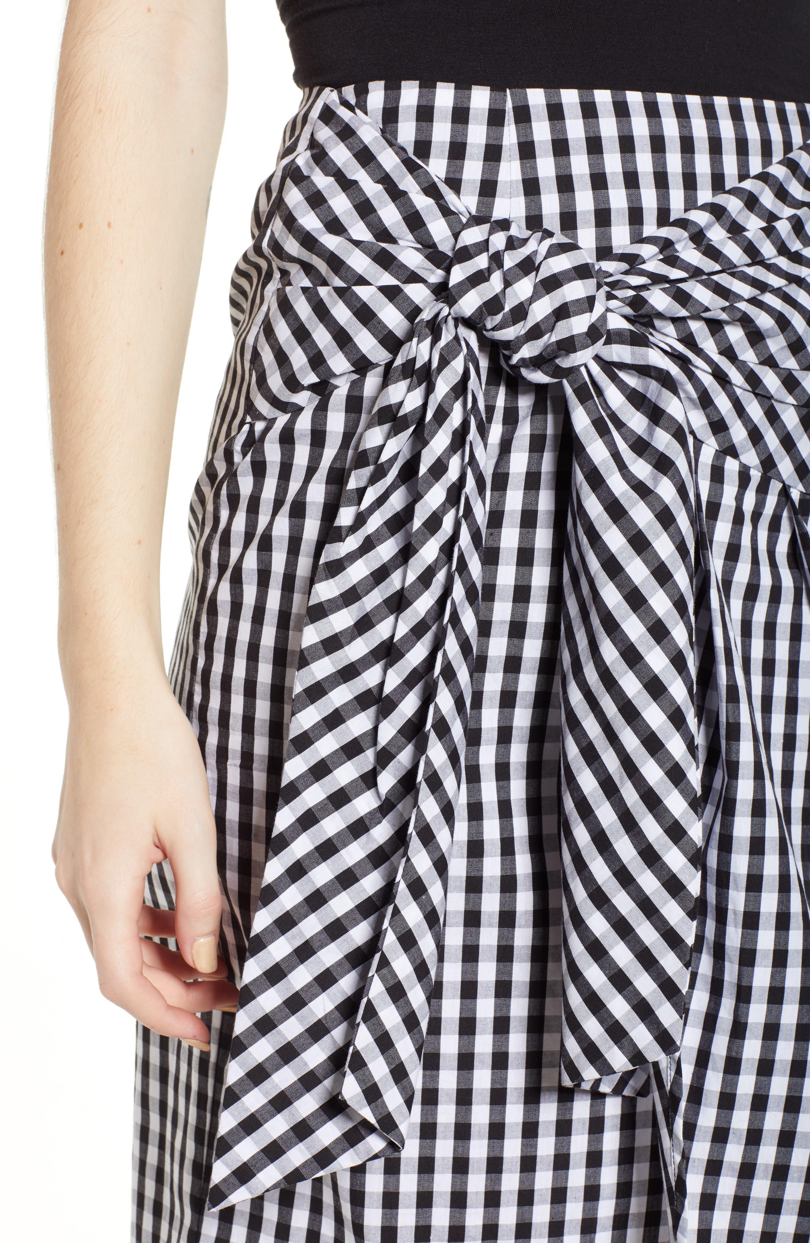 Gingham Tie Waist Skirt,                             Alternate thumbnail 4, color,                             Black/ White Gingham
