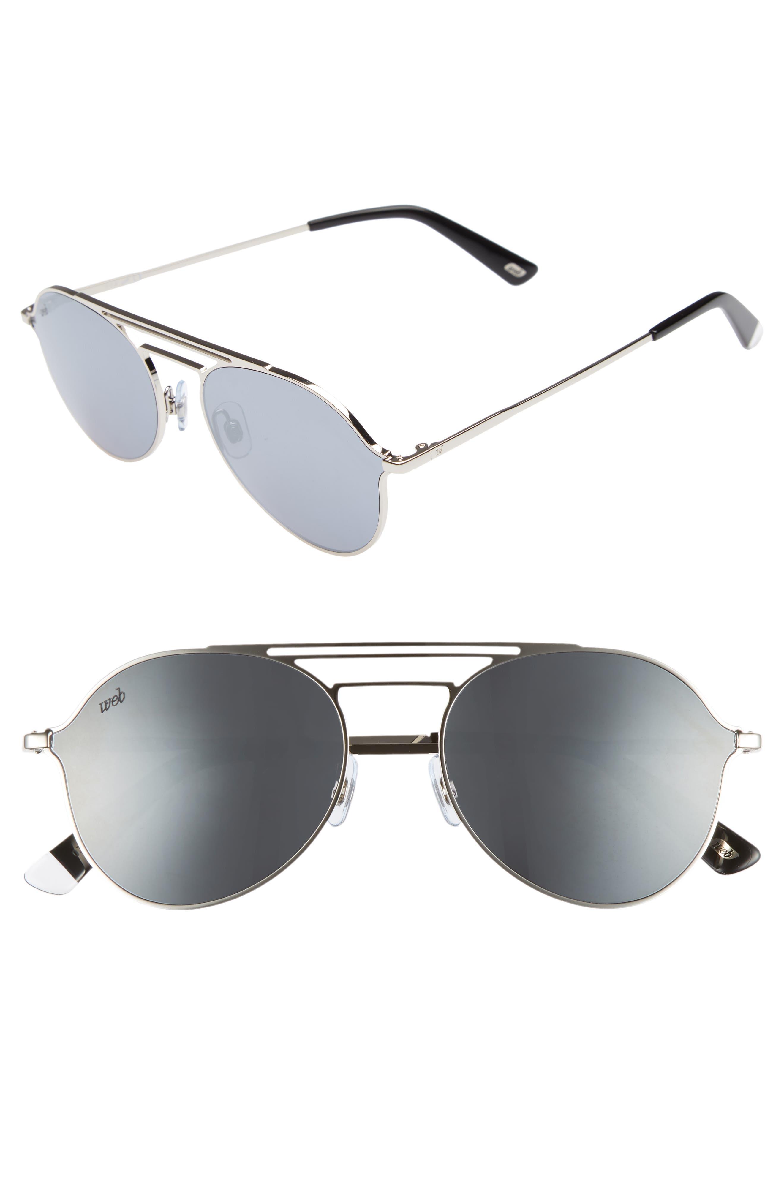 56mm Aviator Sunglasses,                             Main thumbnail 1, color,                             Shiny Palladium/ Smoke Mirror