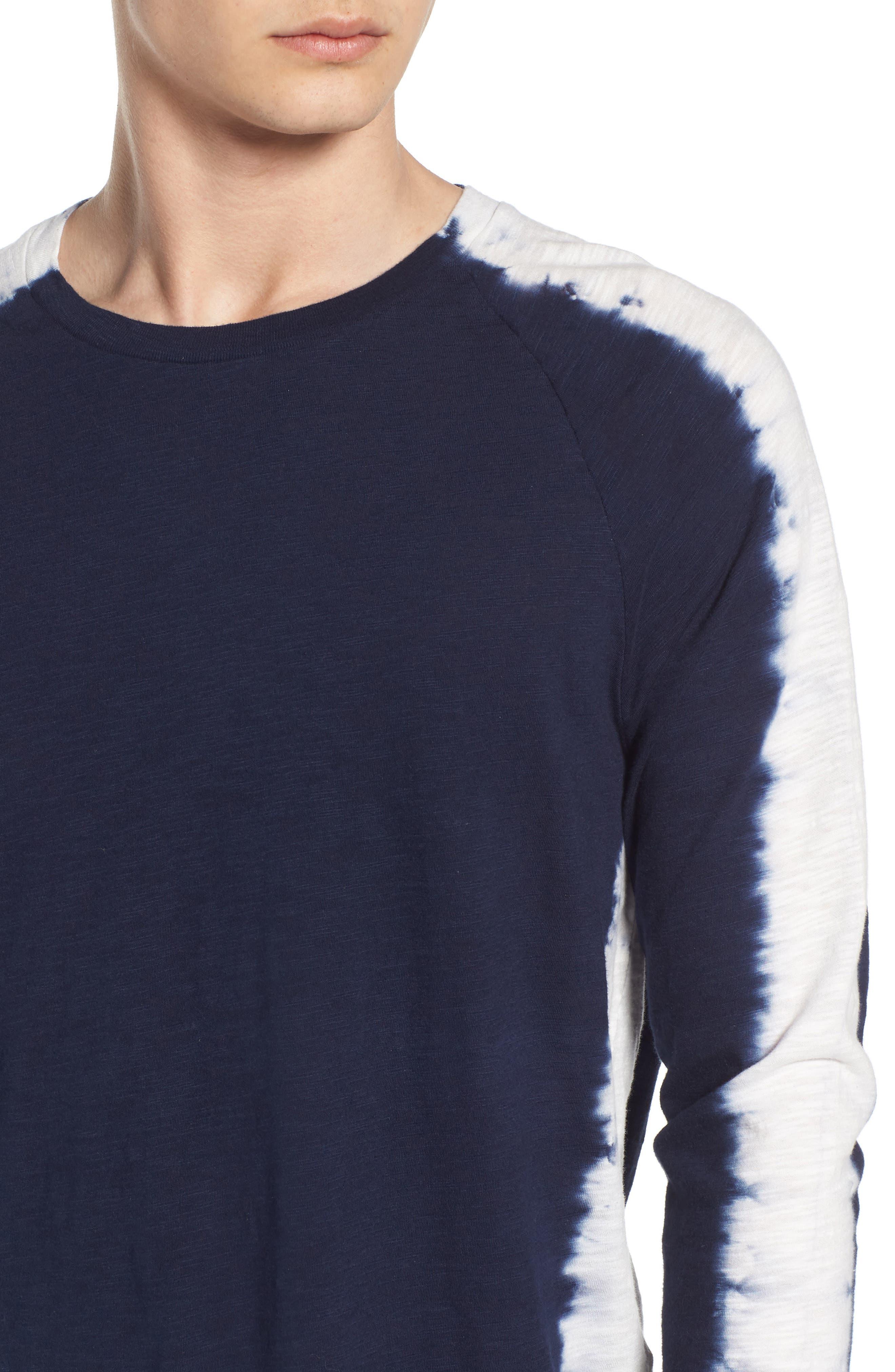 Raglan T-Shirt,                             Alternate thumbnail 4, color,                             Indigo Stripe Shibori Indigo