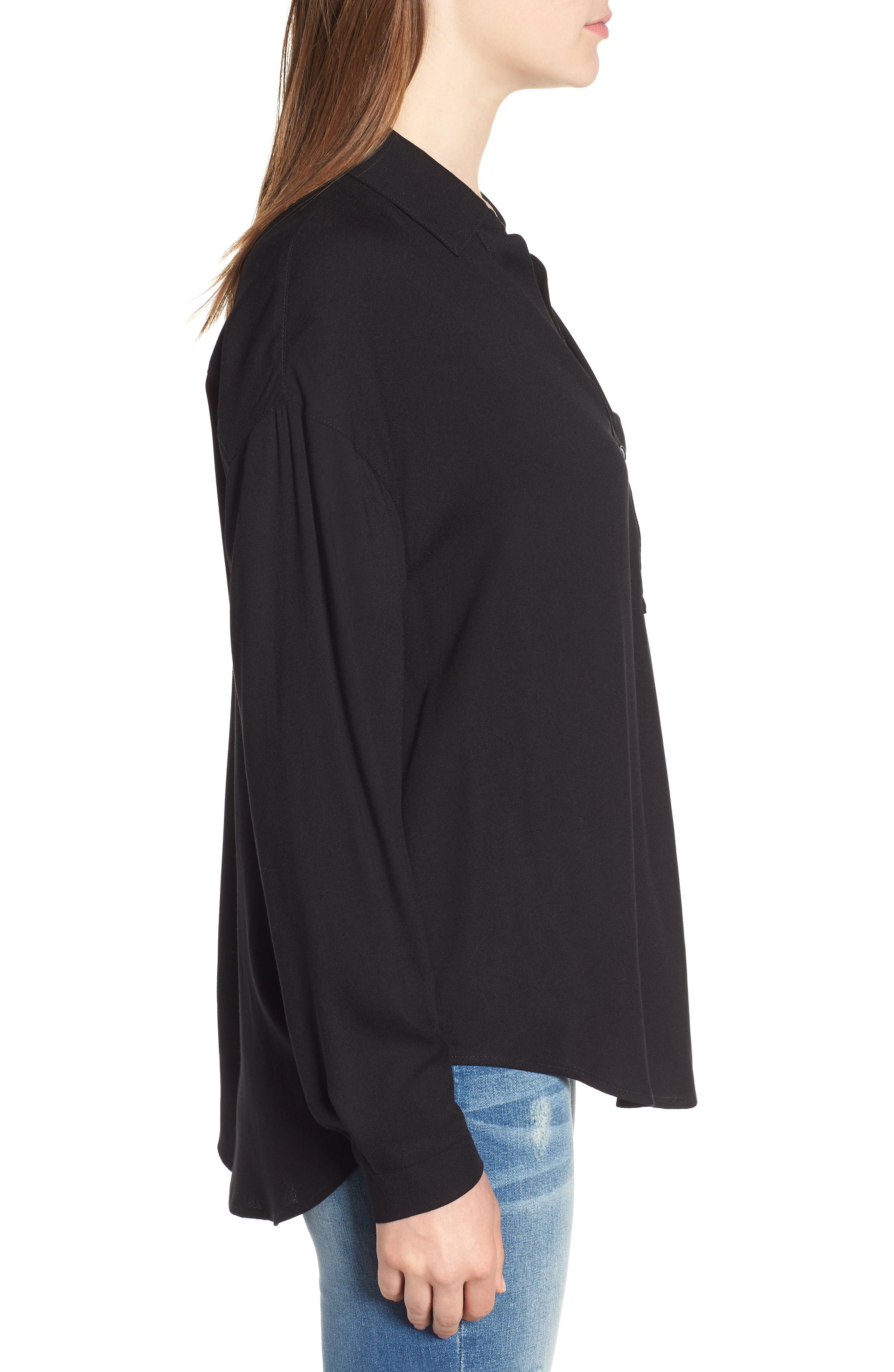 Slouchy Pocket Henley,                             Alternate thumbnail 3, color,                             Solid Black