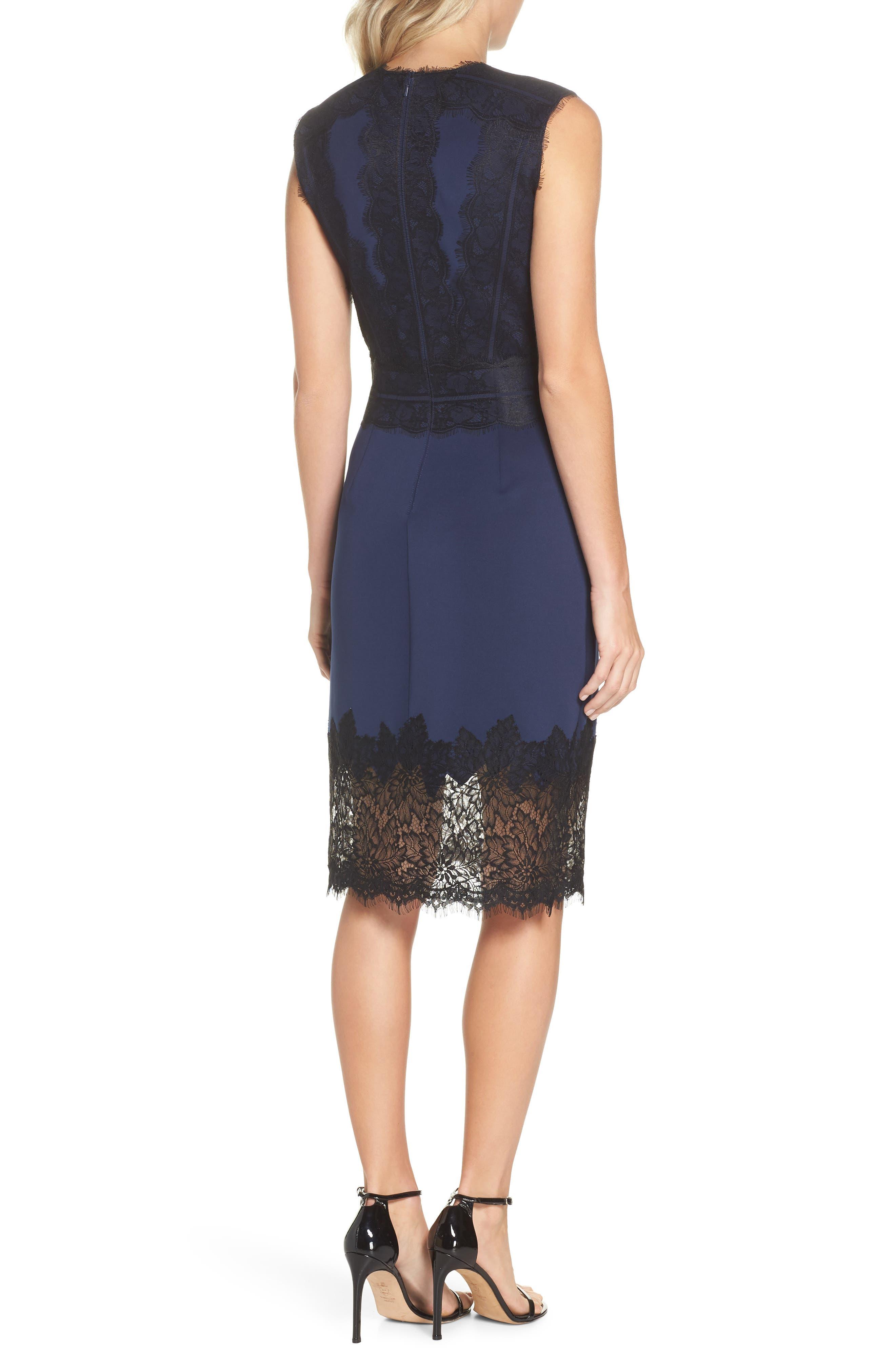 Lace Trim Sheath Dress,                             Alternate thumbnail 2, color,                             Midnight/ Black