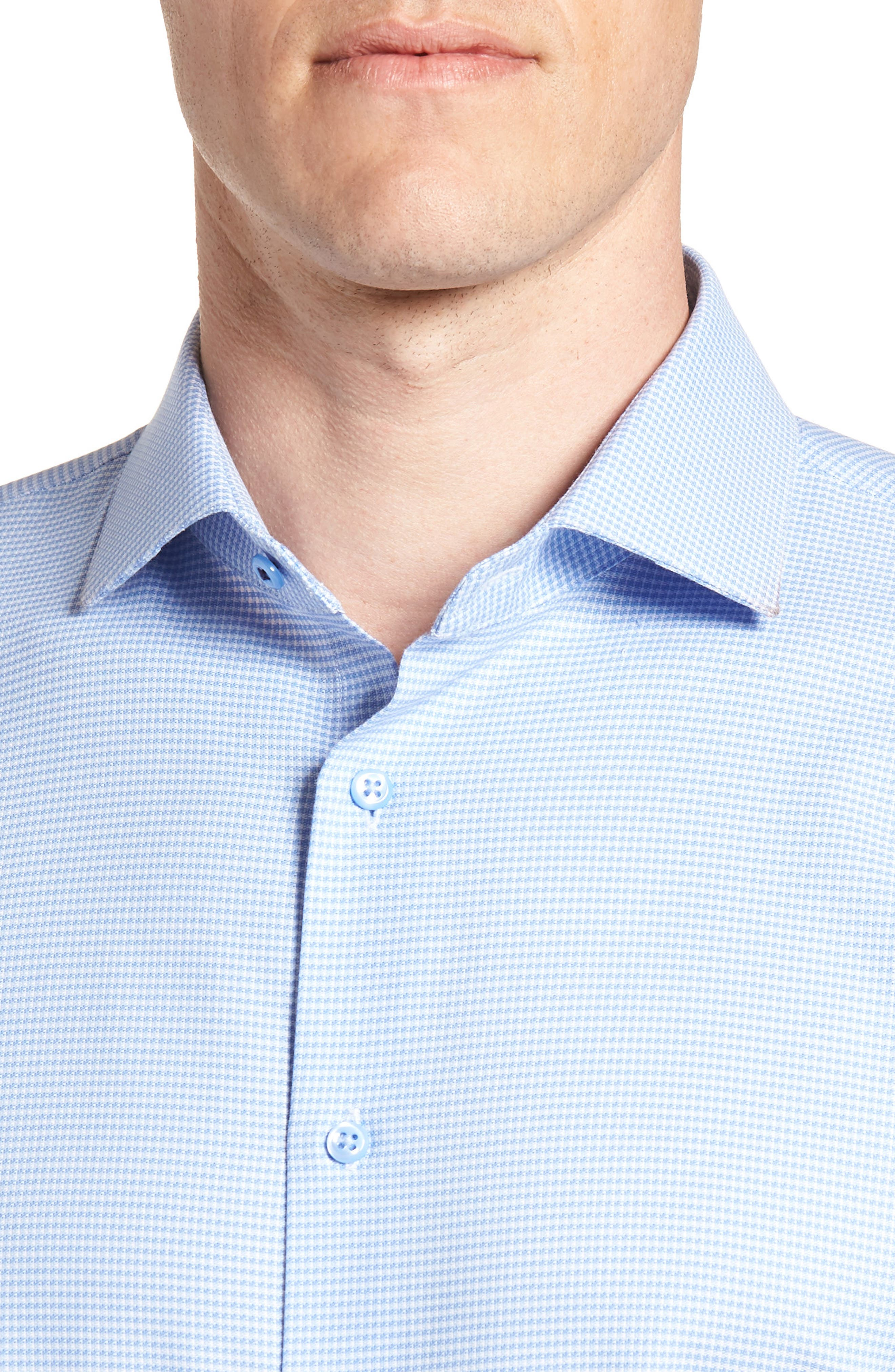 Tech-Smart Trim Fit Stretch Texture Dress Shirt,                             Alternate thumbnail 2, color,                             Blue Hydrangea