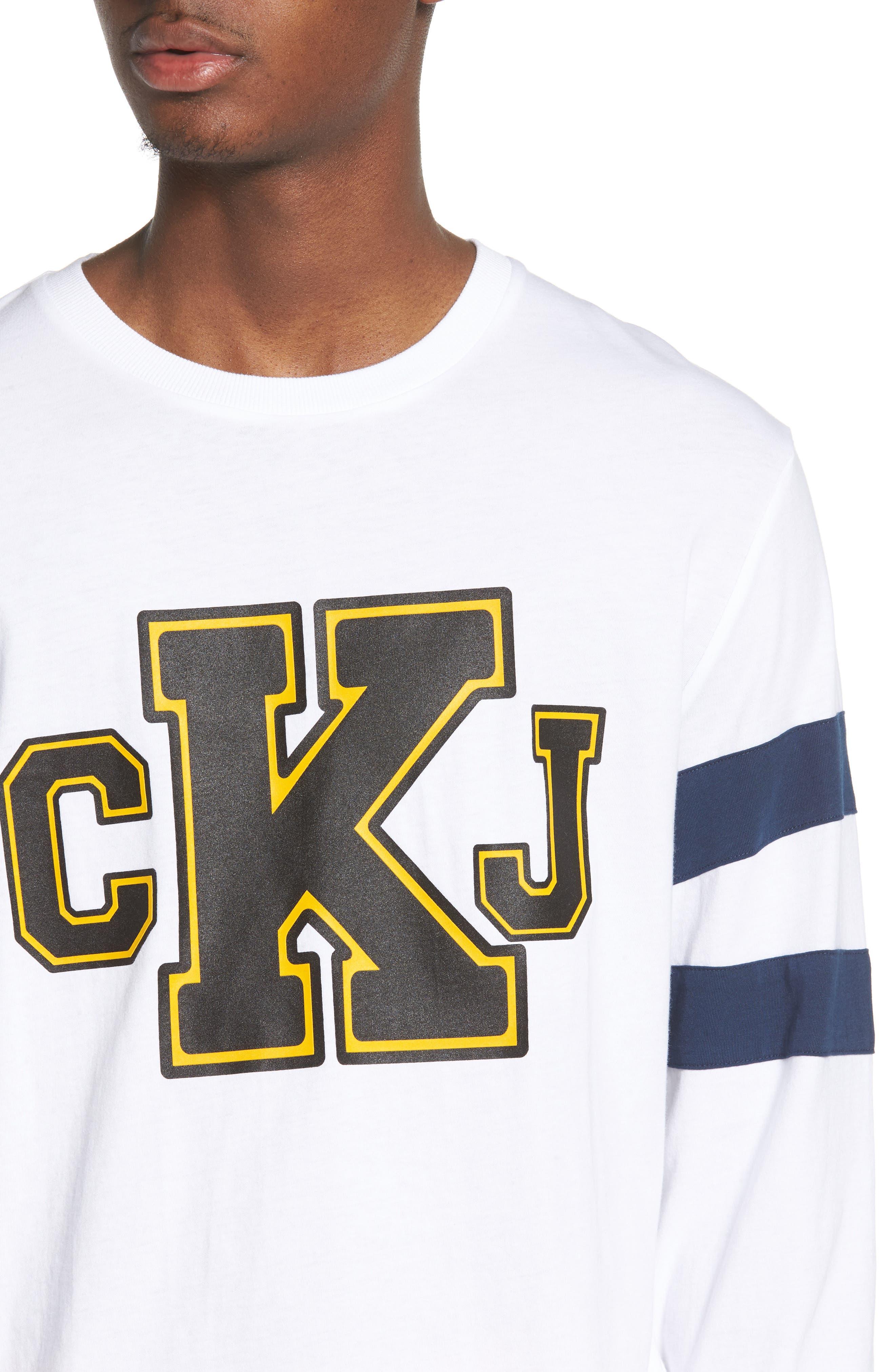 Stripe Sleeve Logo T-Shirt,                             Alternate thumbnail 4, color,                             Standard White