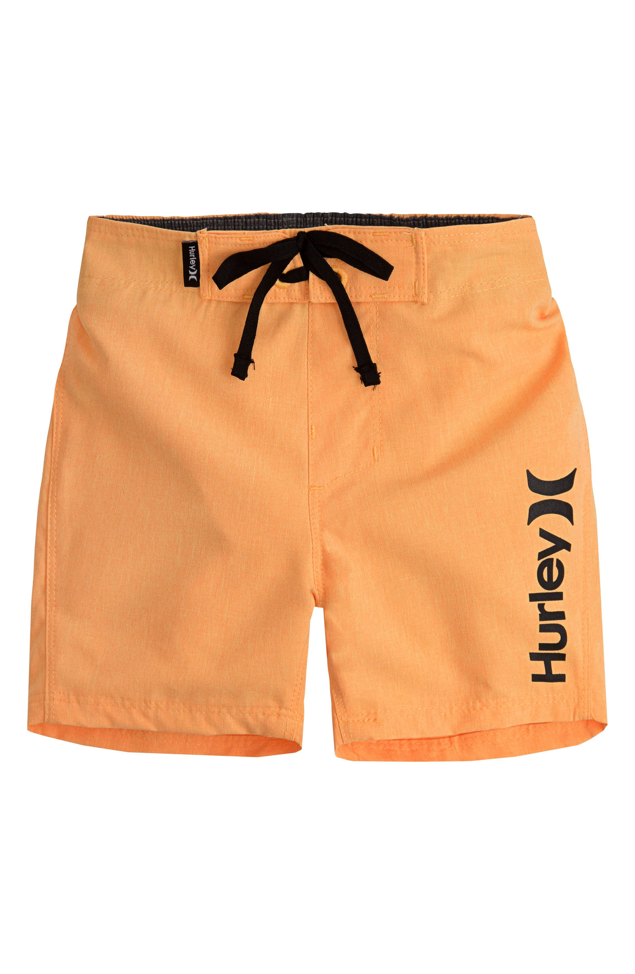 Heathered One & Only Board Shorts,                             Main thumbnail 1, color,                             Laser Orange Heather