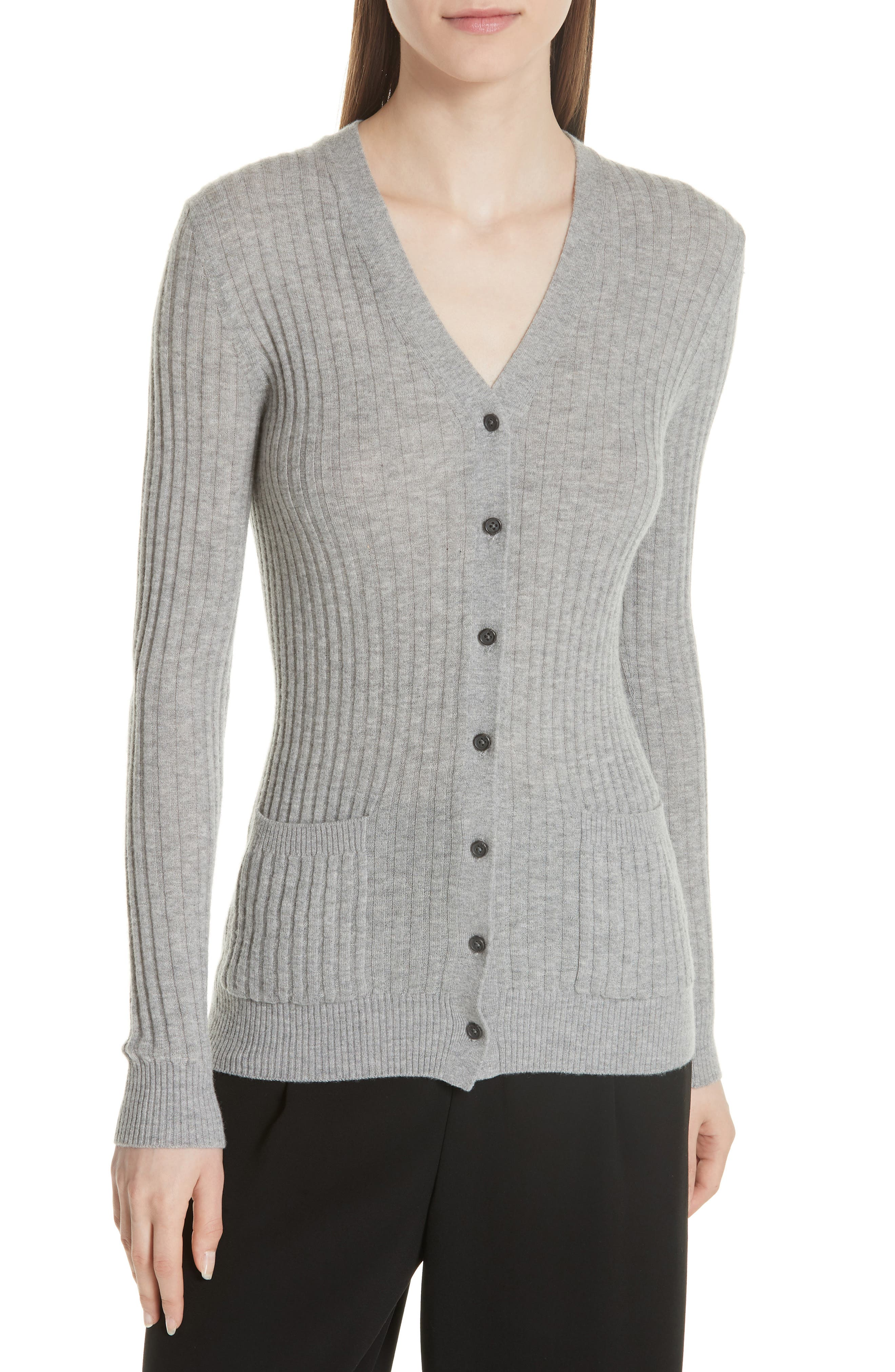 Ribbed Skinny Cashmere Cardigan,                             Main thumbnail 1, color,                             H Steel