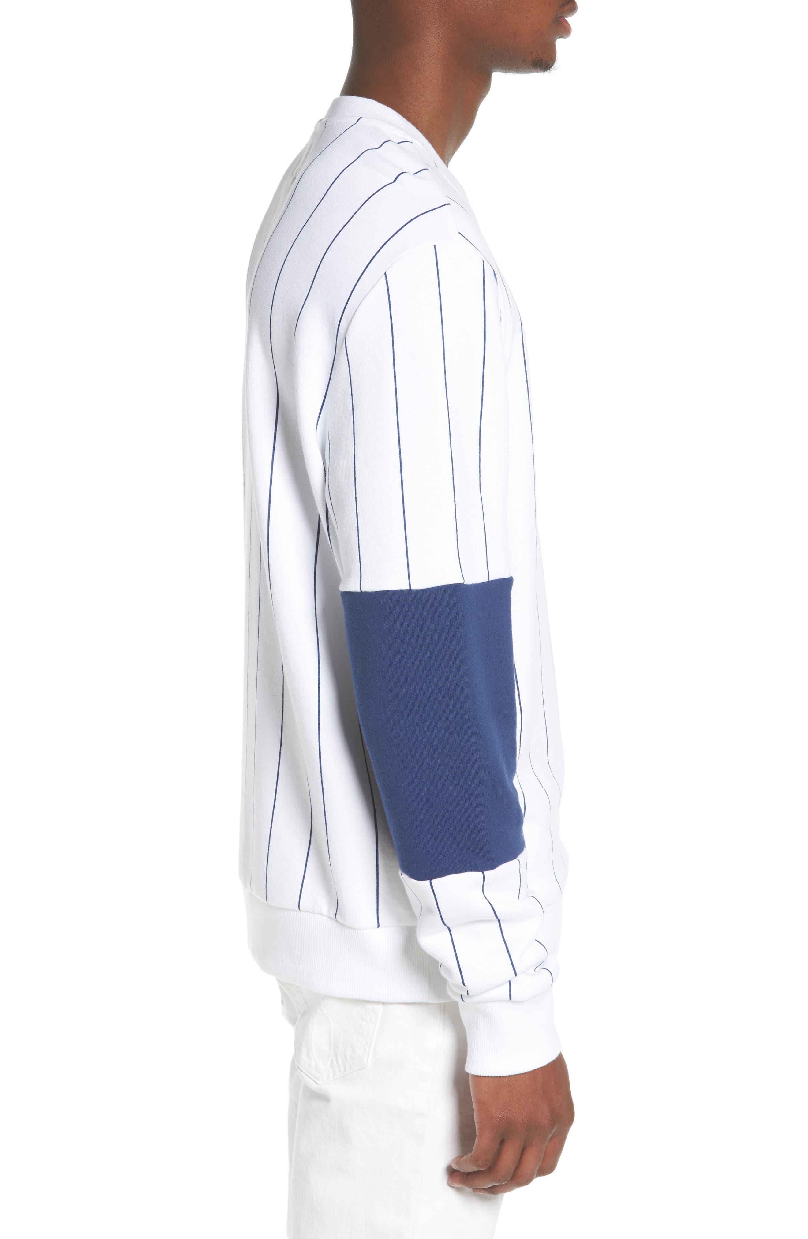 Stripe Blocked Sweatshirt,                             Alternate thumbnail 3, color,                             Standard White