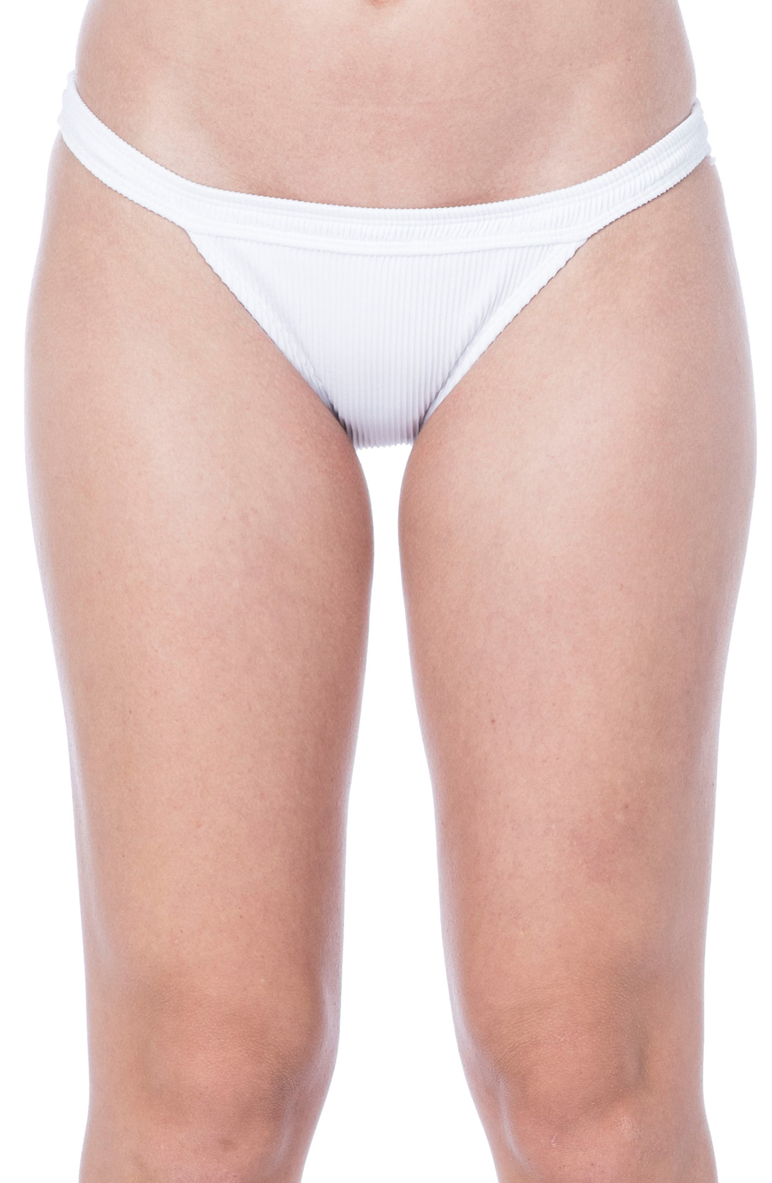 Ribbed Bikini Bottoms,                         Main,                         color, White
