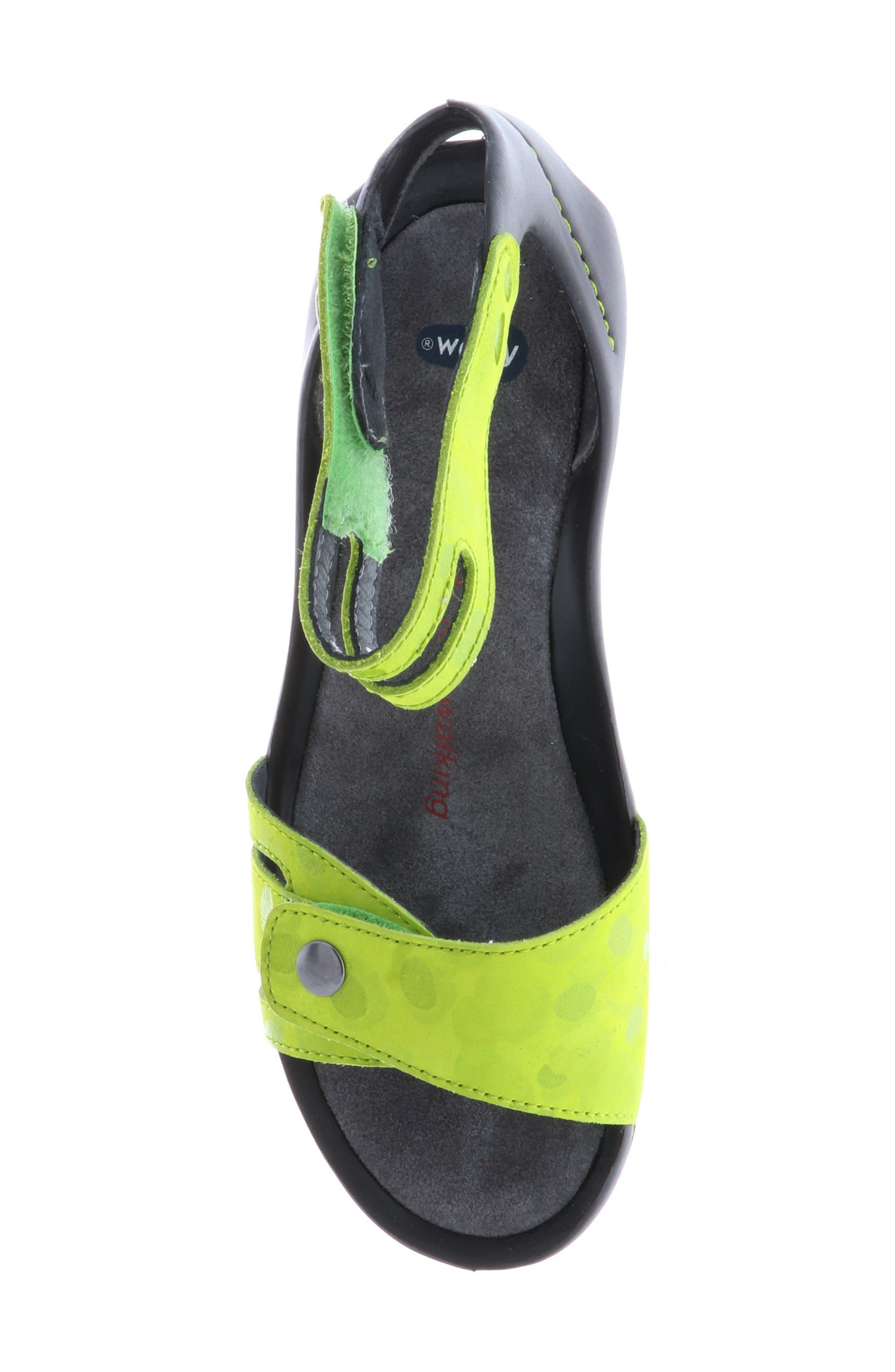 Za Wedge Sandal,                             Alternate thumbnail 5, color,                             Lime Circle Print