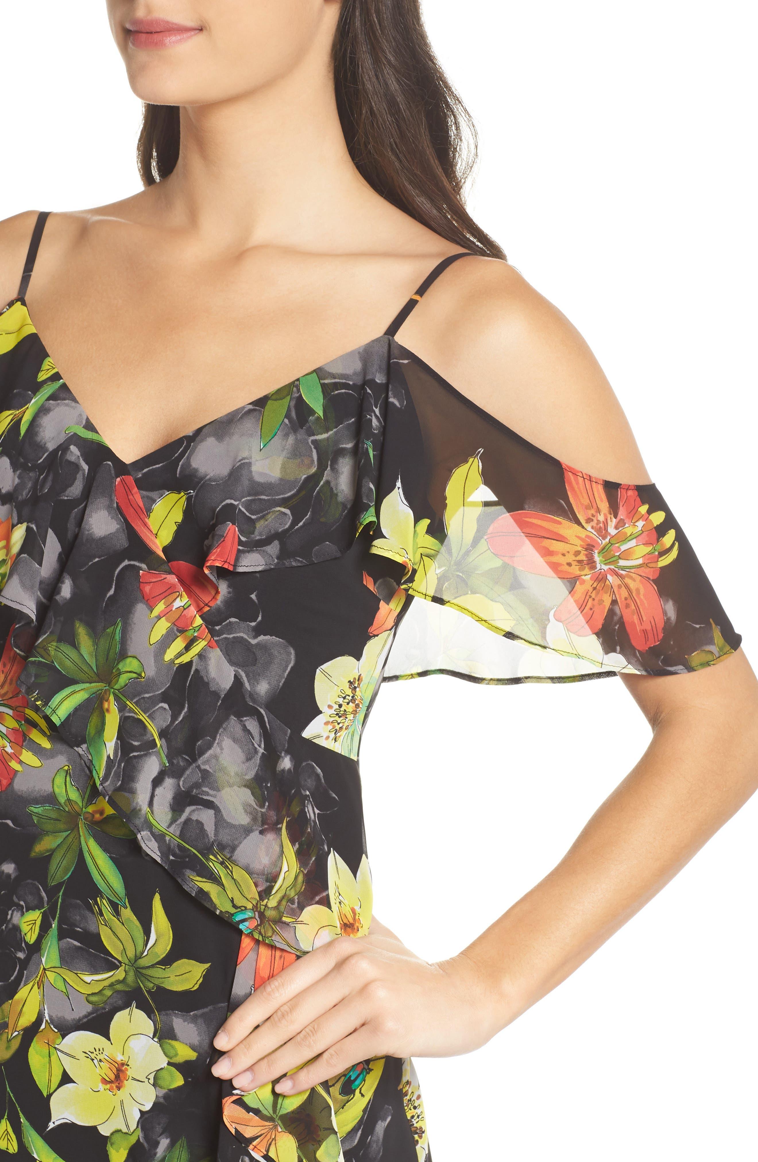 Print Cold Shoulder Chiffon Dress,                             Alternate thumbnail 4, color,                             Black/ Red