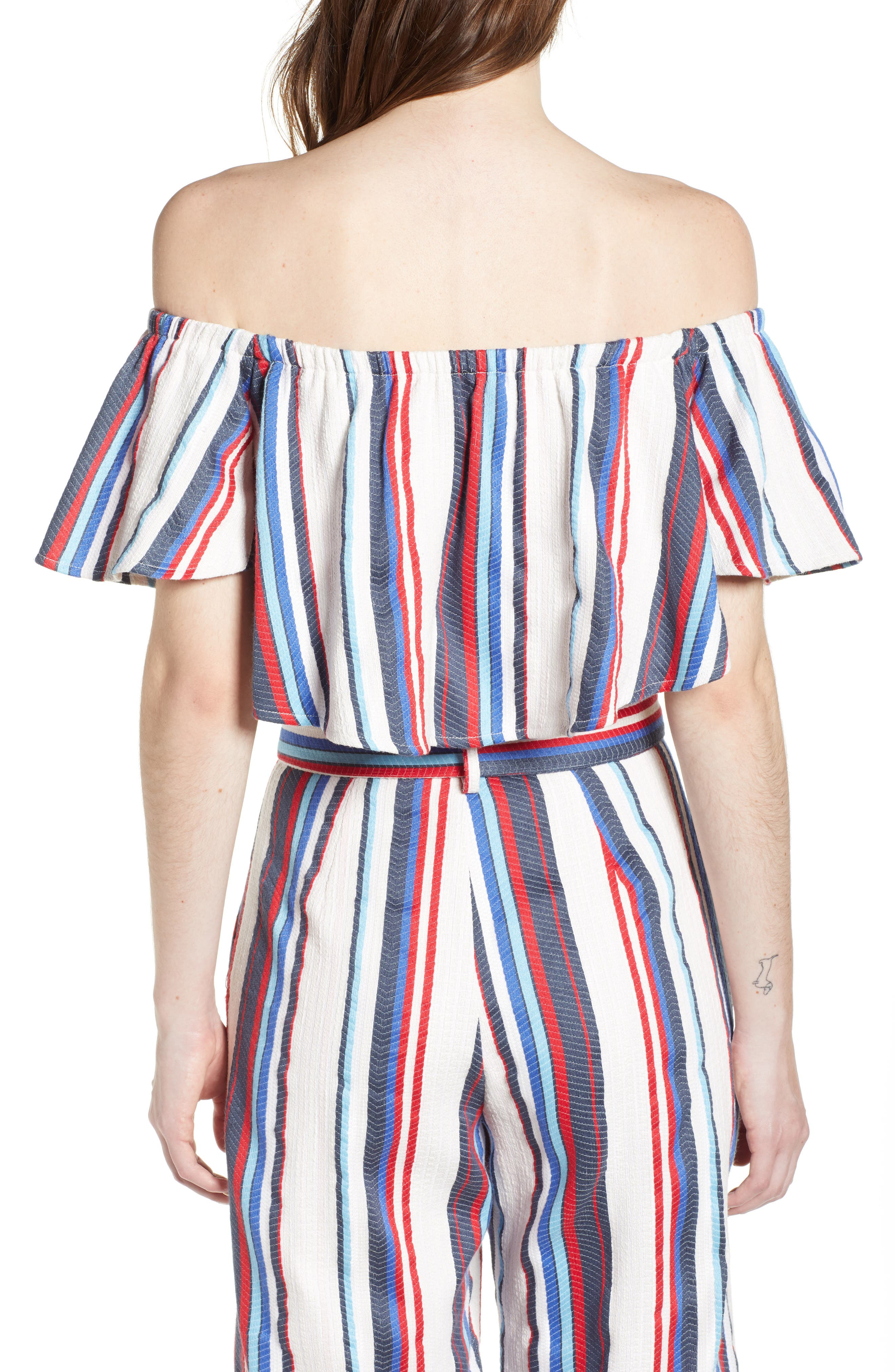 Azul Stripe Off the Shoulder Crop Top,                             Alternate thumbnail 3, color,                             Blue/ Red Stripe