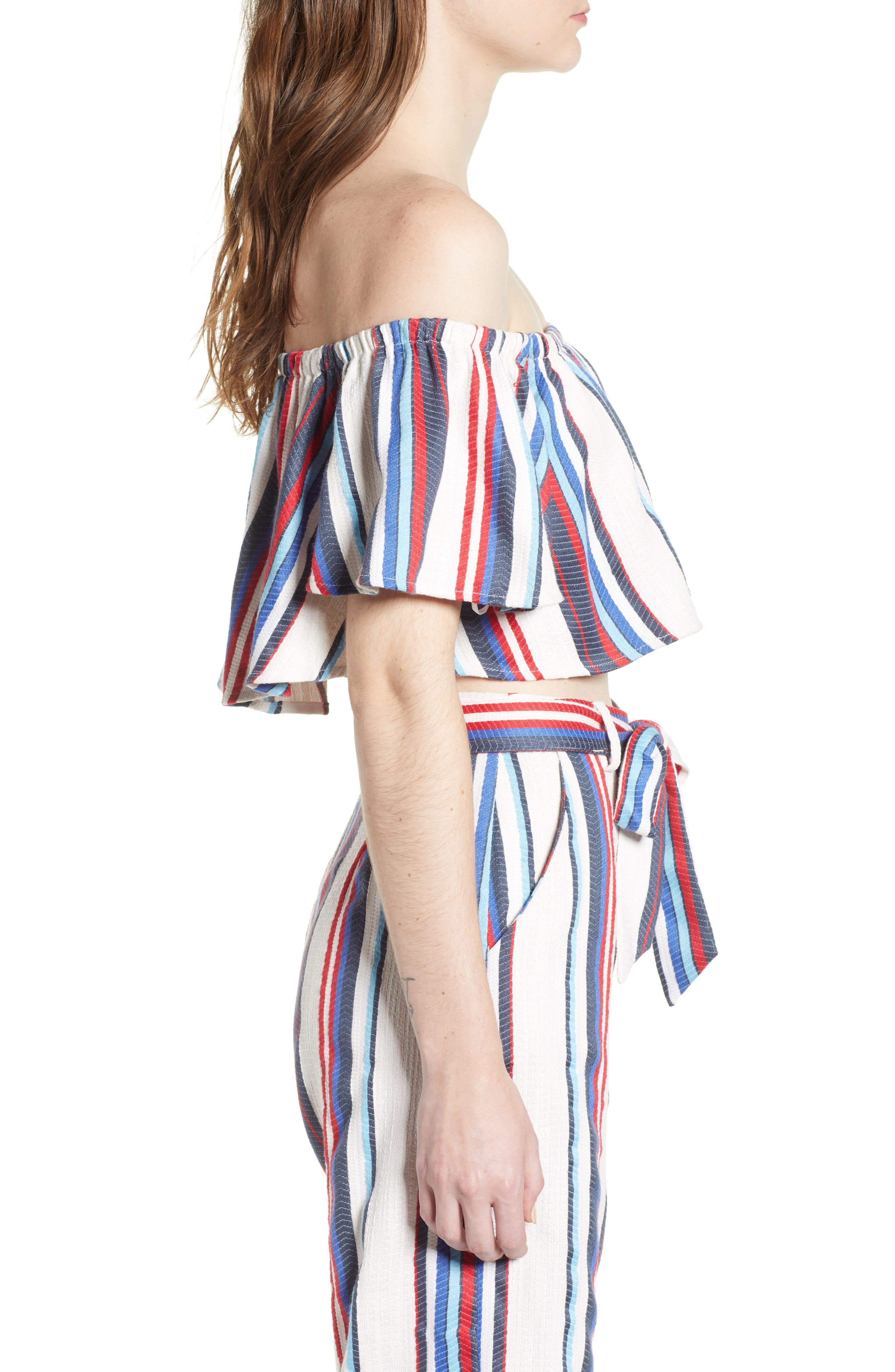 Azul Stripe Off the Shoulder Crop Top,                             Alternate thumbnail 4, color,                             Blue/ Red Stripe