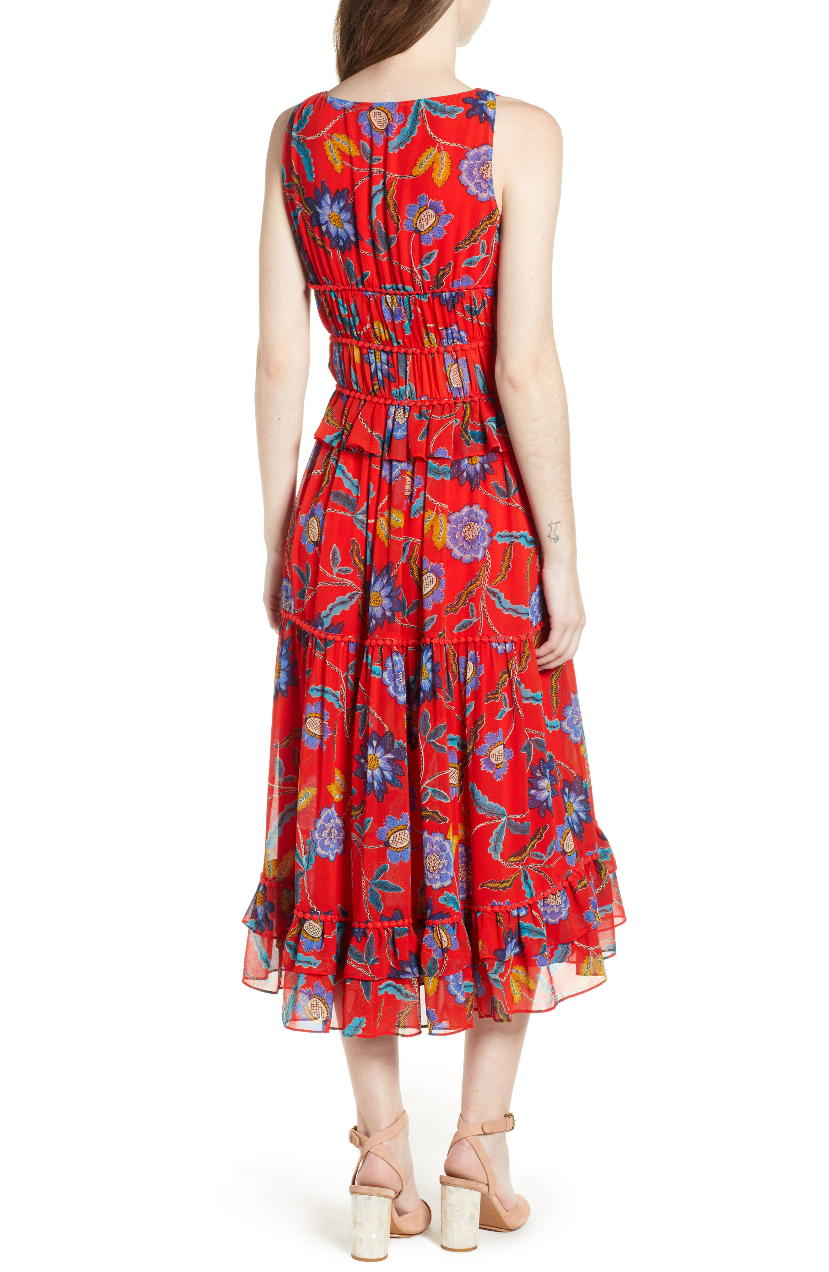 Lucy Floral Dress,                             Alternate thumbnail 2, color,                             Red Multi