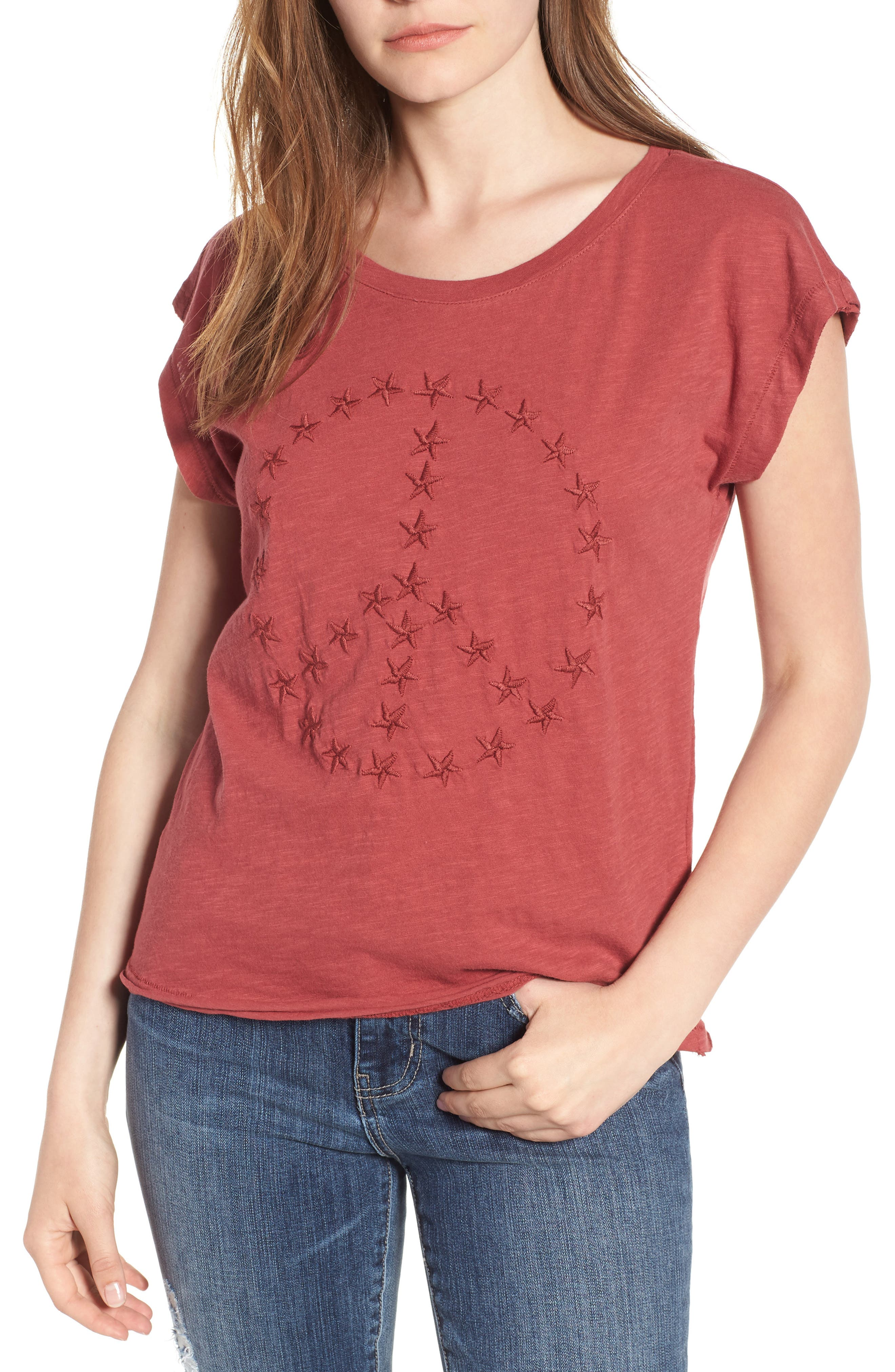 Embroidered Peace Sign Tee,                         Main,                         color, Rosewood