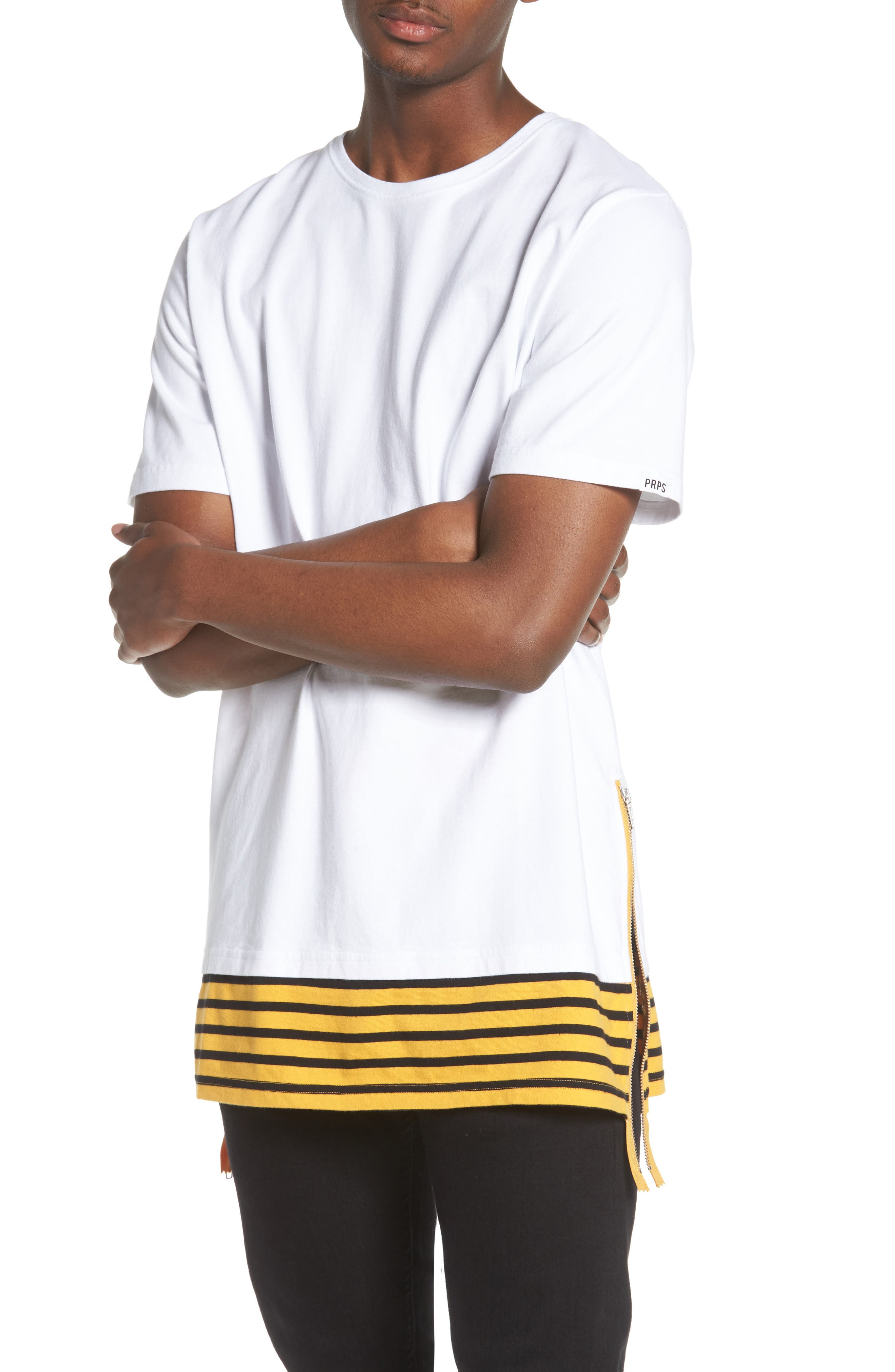 Elongated Stripe Side Zip T-Shirt,                         Main,                         color, White