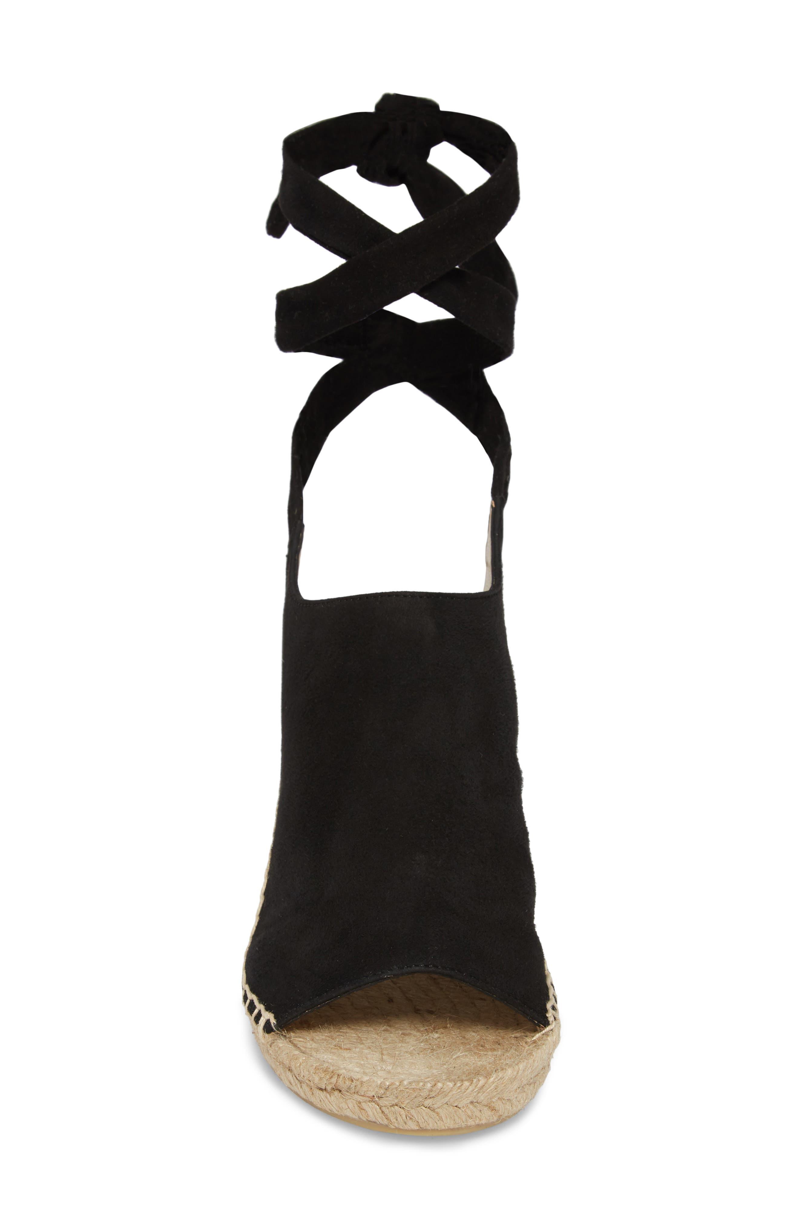 Vie Espadrille Wedge Sandal,                             Alternate thumbnail 4, color,                             Black Suede