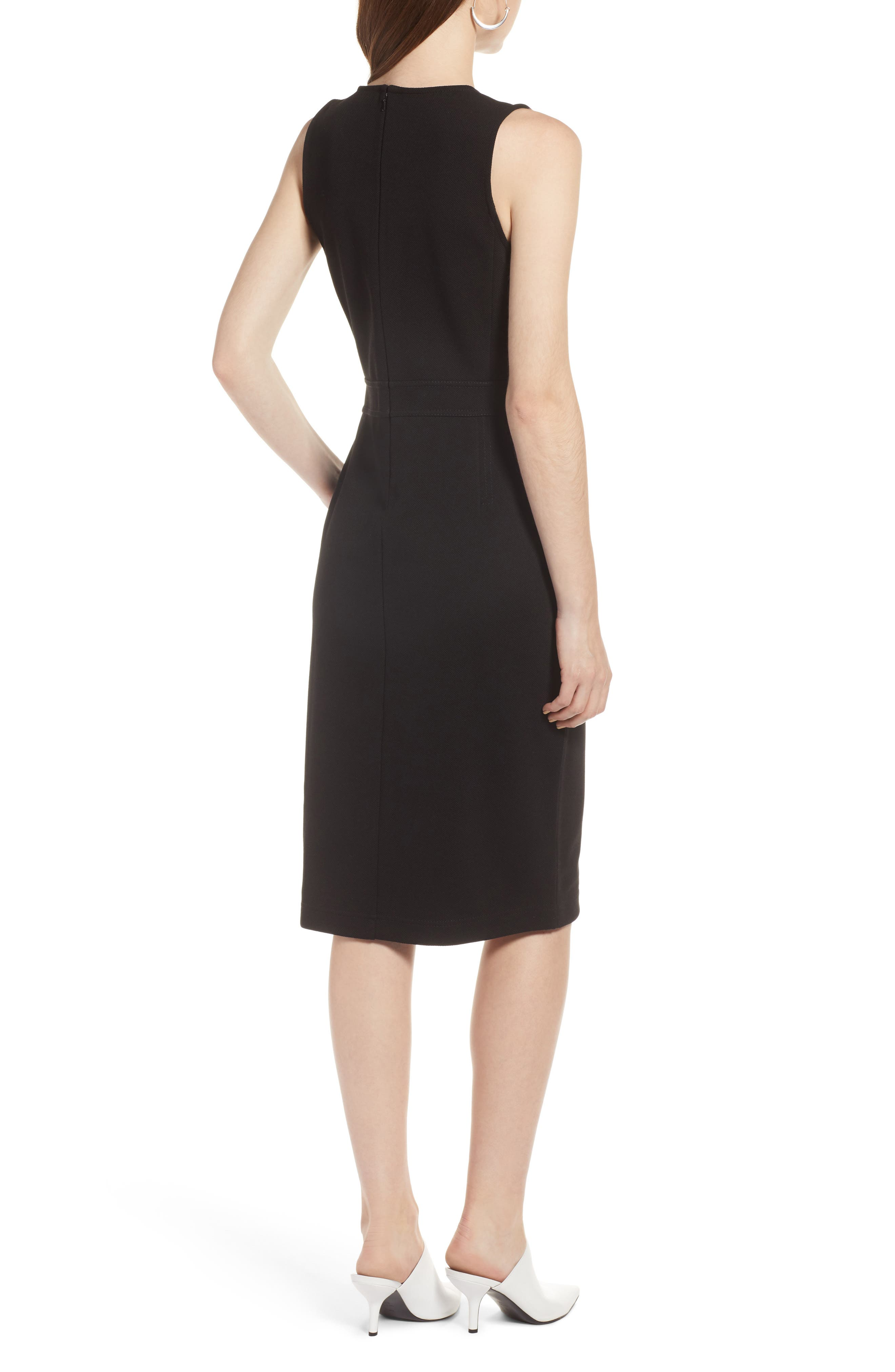 Knit Sheath Dress,                             Alternate thumbnail 2, color,                             Black