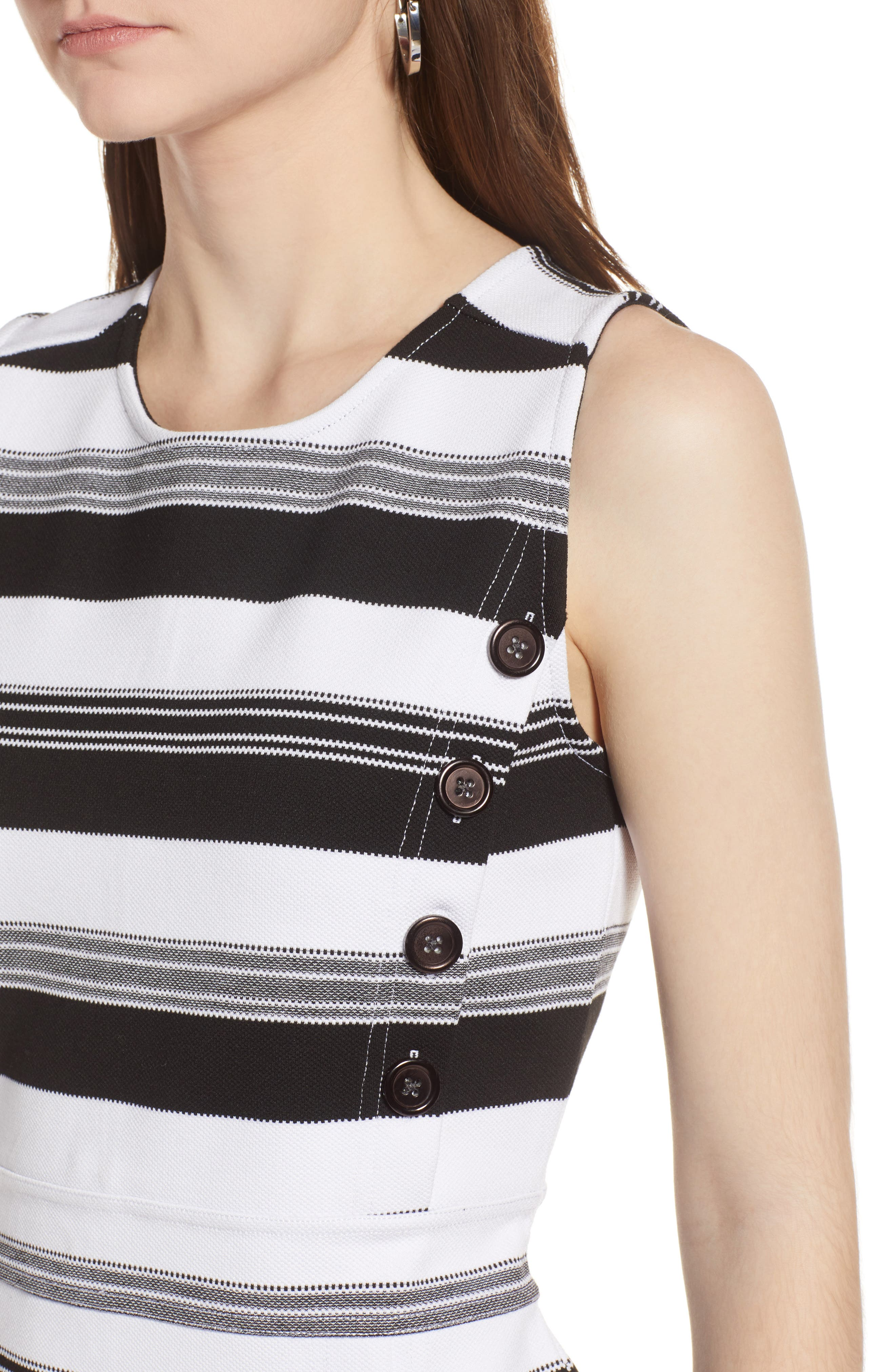 Stripe Knit Dress,                             Alternate thumbnail 4, color,                             Black- Ivory Stripe