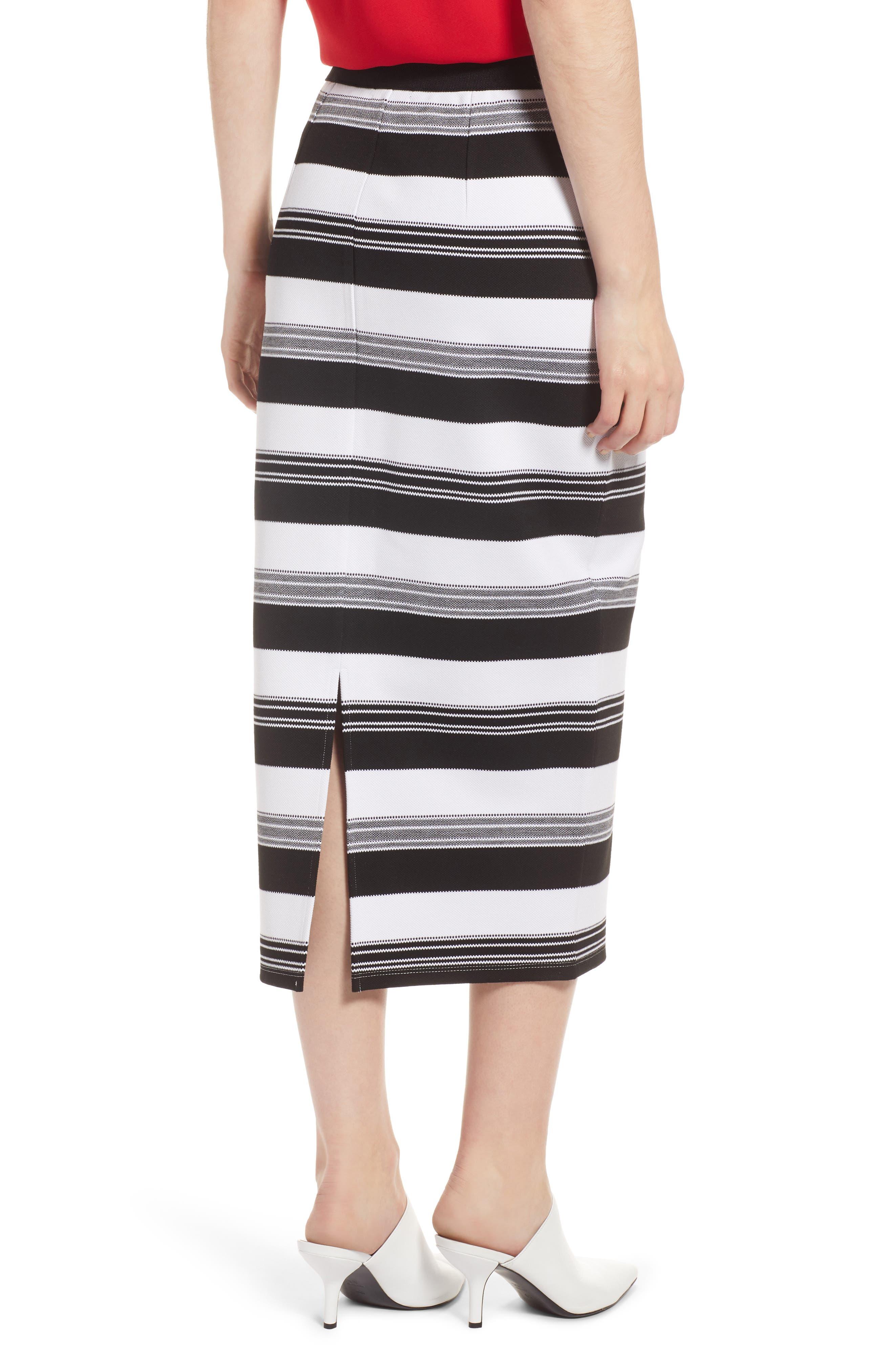 Knit Pencil Skirt,                             Alternate thumbnail 2, color,                             Black- Ivory Stripe