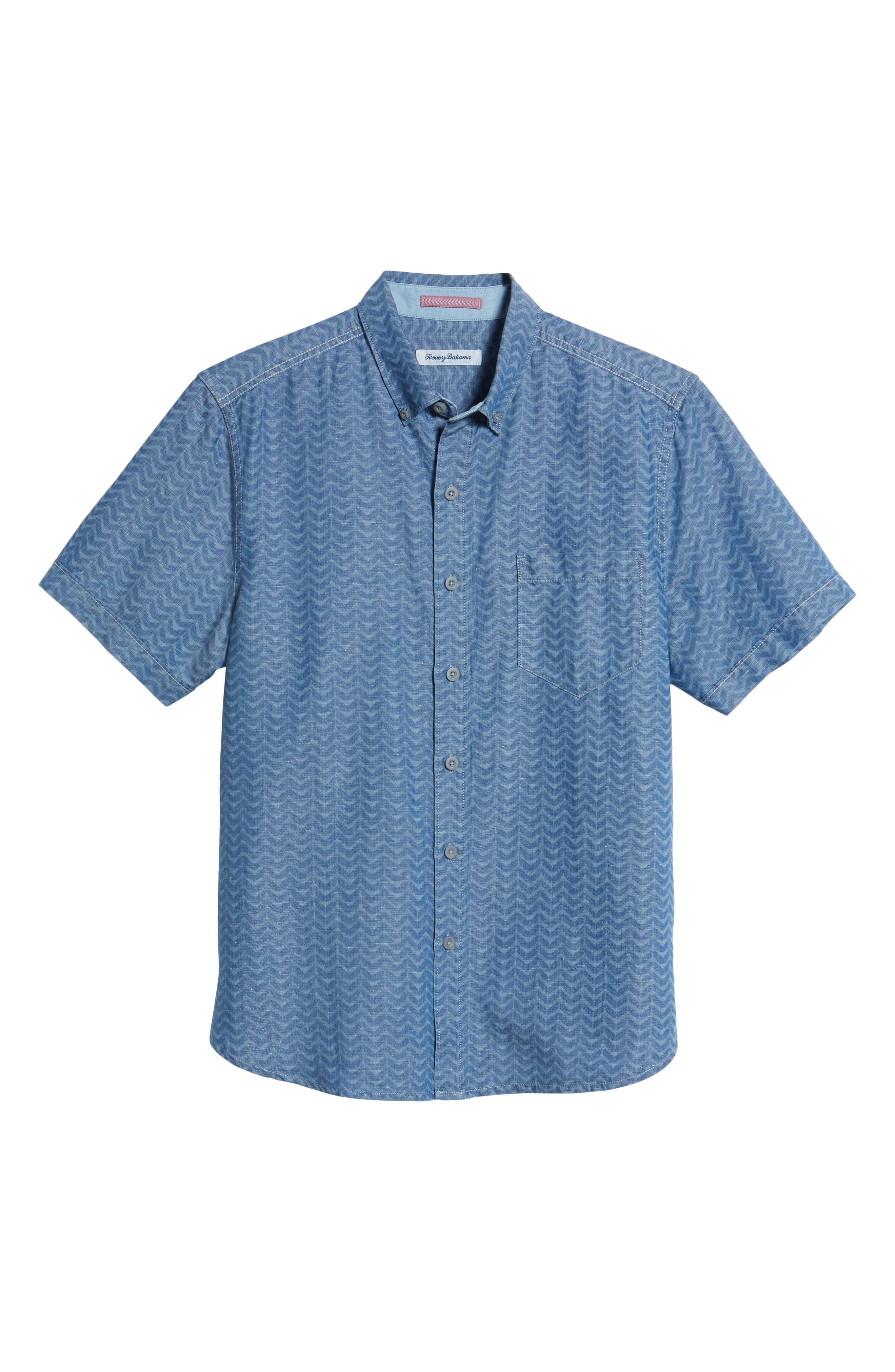 Chevron Cantina Sport Shirt,                             Alternate thumbnail 6, color,                             Light Indigo