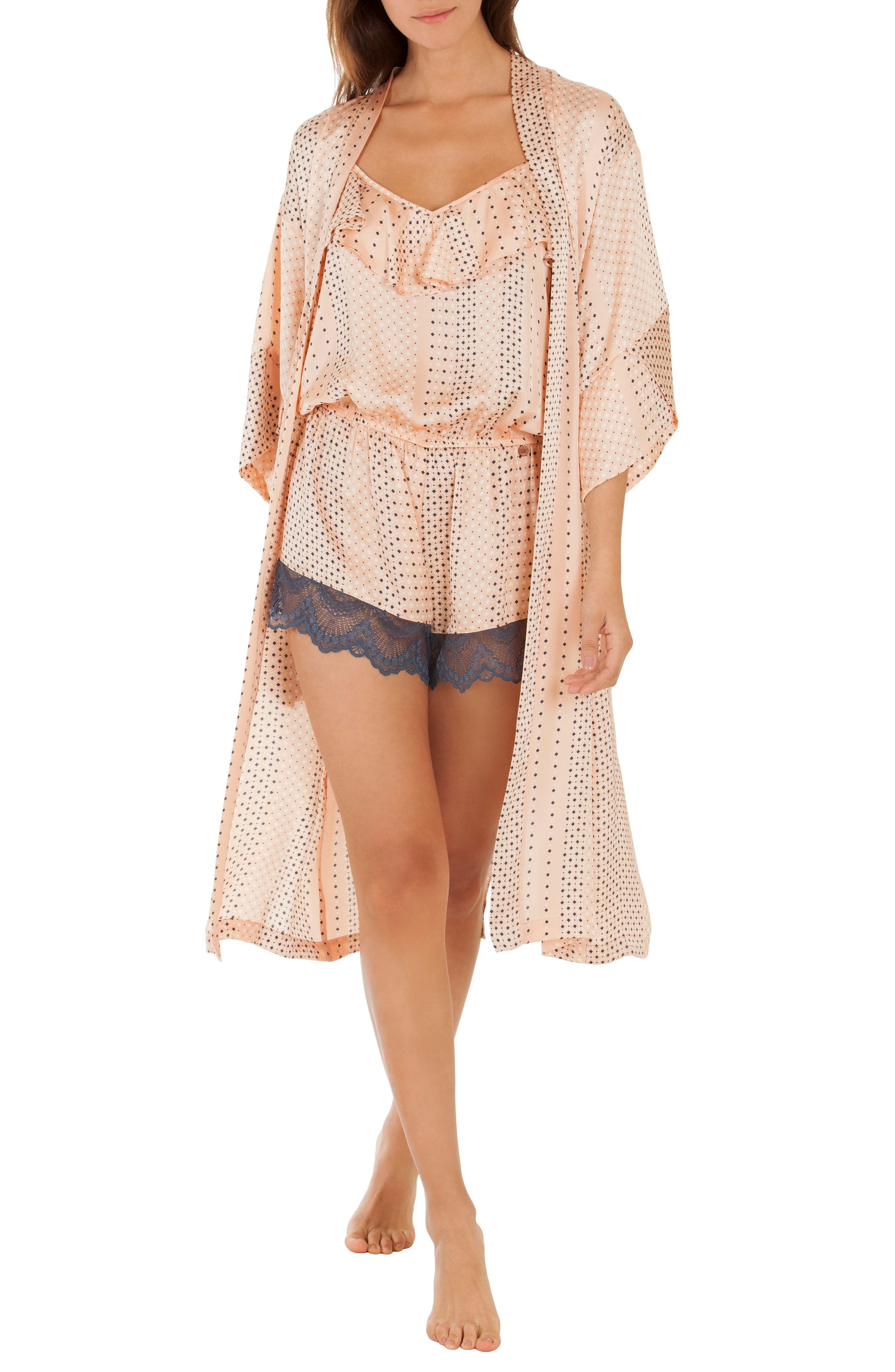 Kimono Robe,                             Alternate thumbnail 4, color,                             Coral Geo