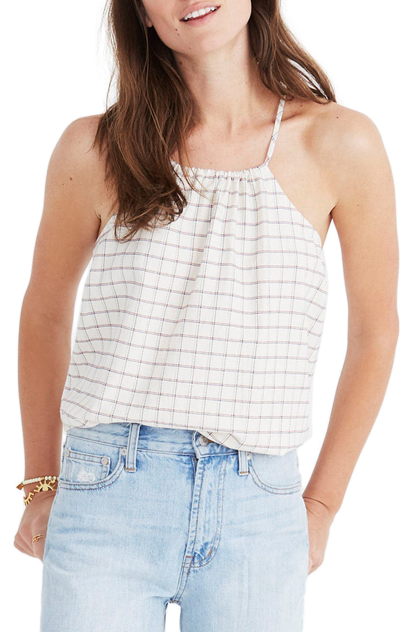 Madewell Plaid Halter Top