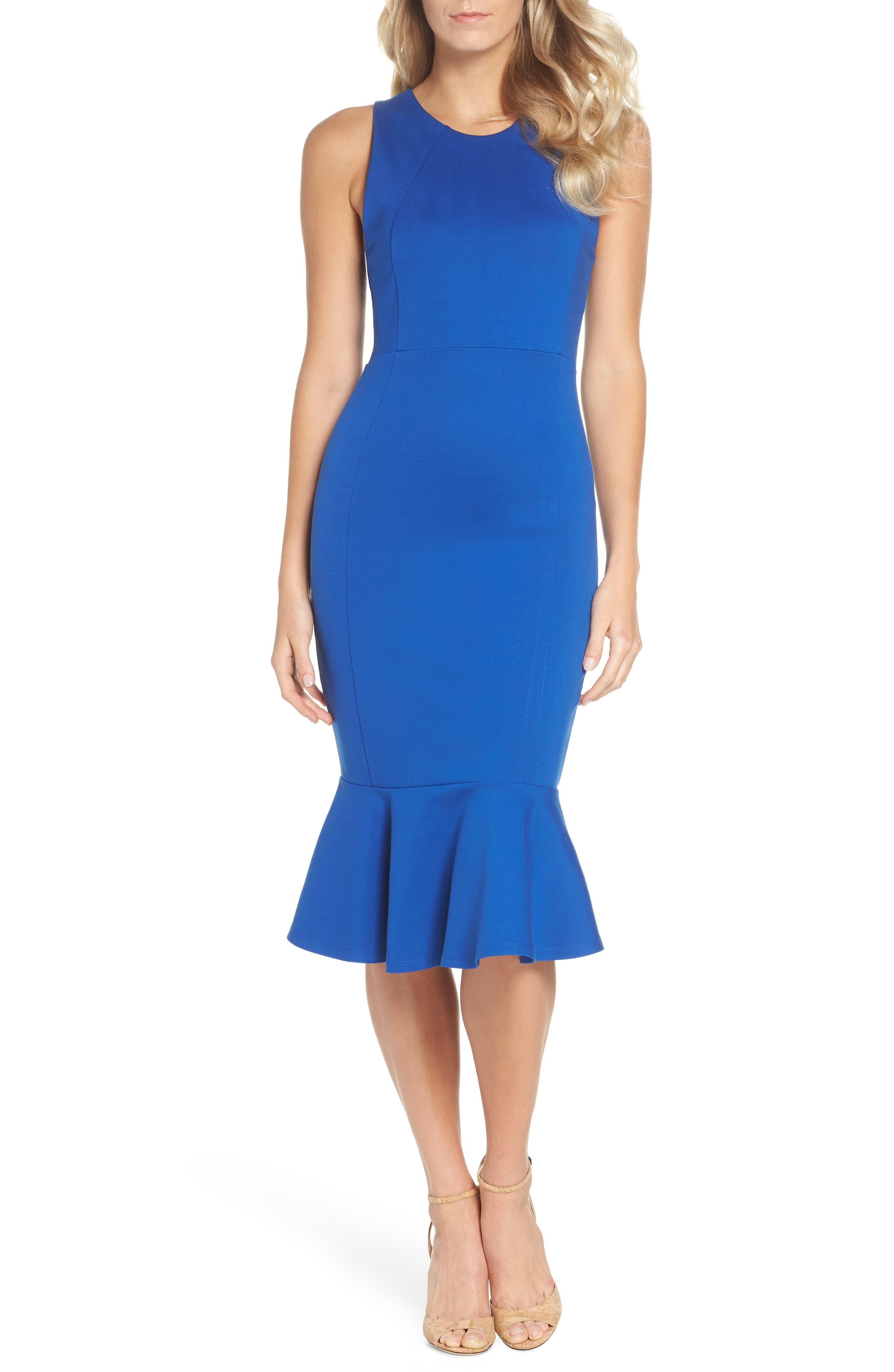 Monrow Flutter Hem Midi Dress,                         Main,                         color, Cobalt
