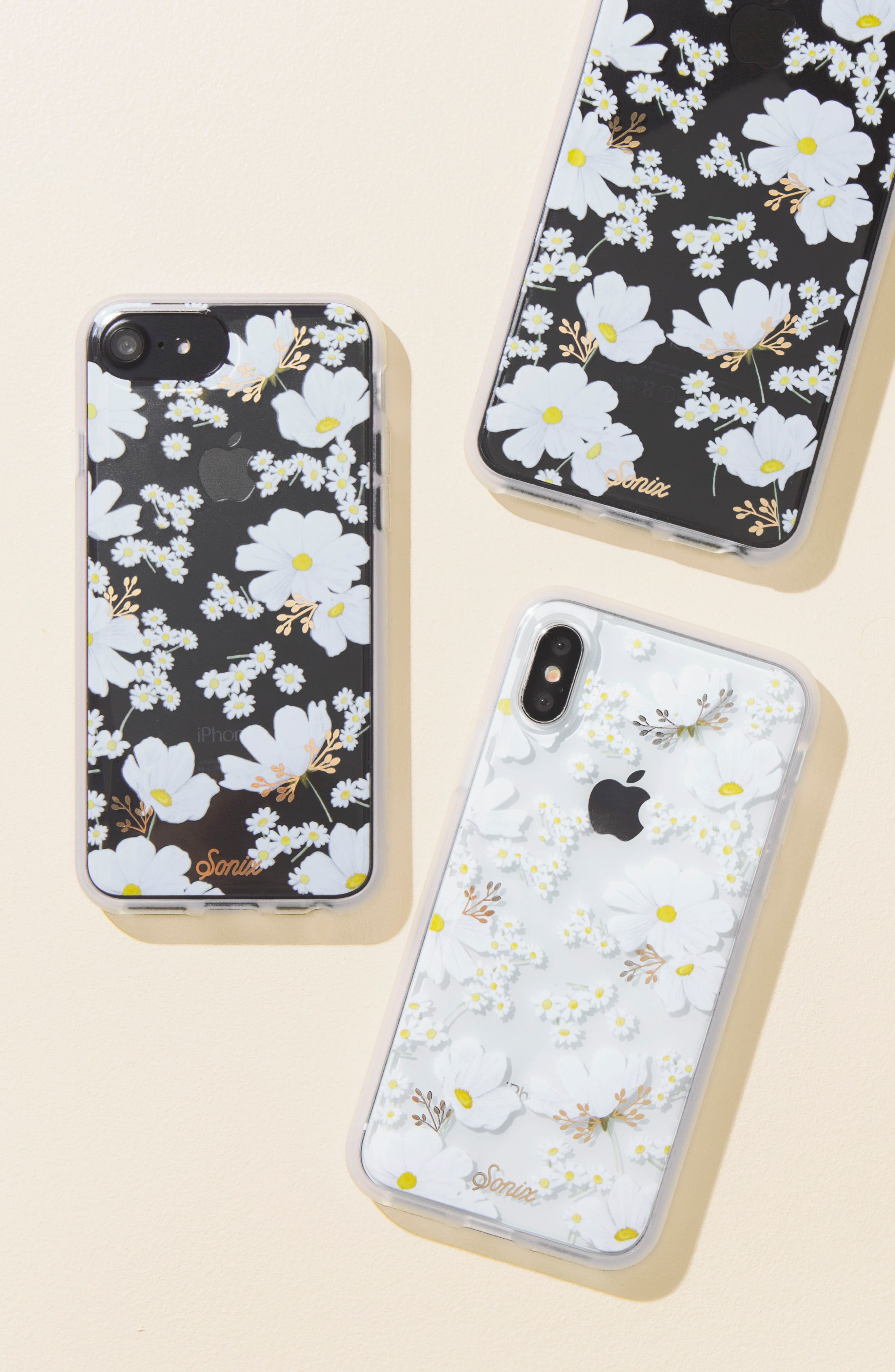 Ditsy Daisy iPhone 6 /6S/7/8 & 6/6s7/8 Plus Case,                             Alternate thumbnail 2, color,                             White/ Gold