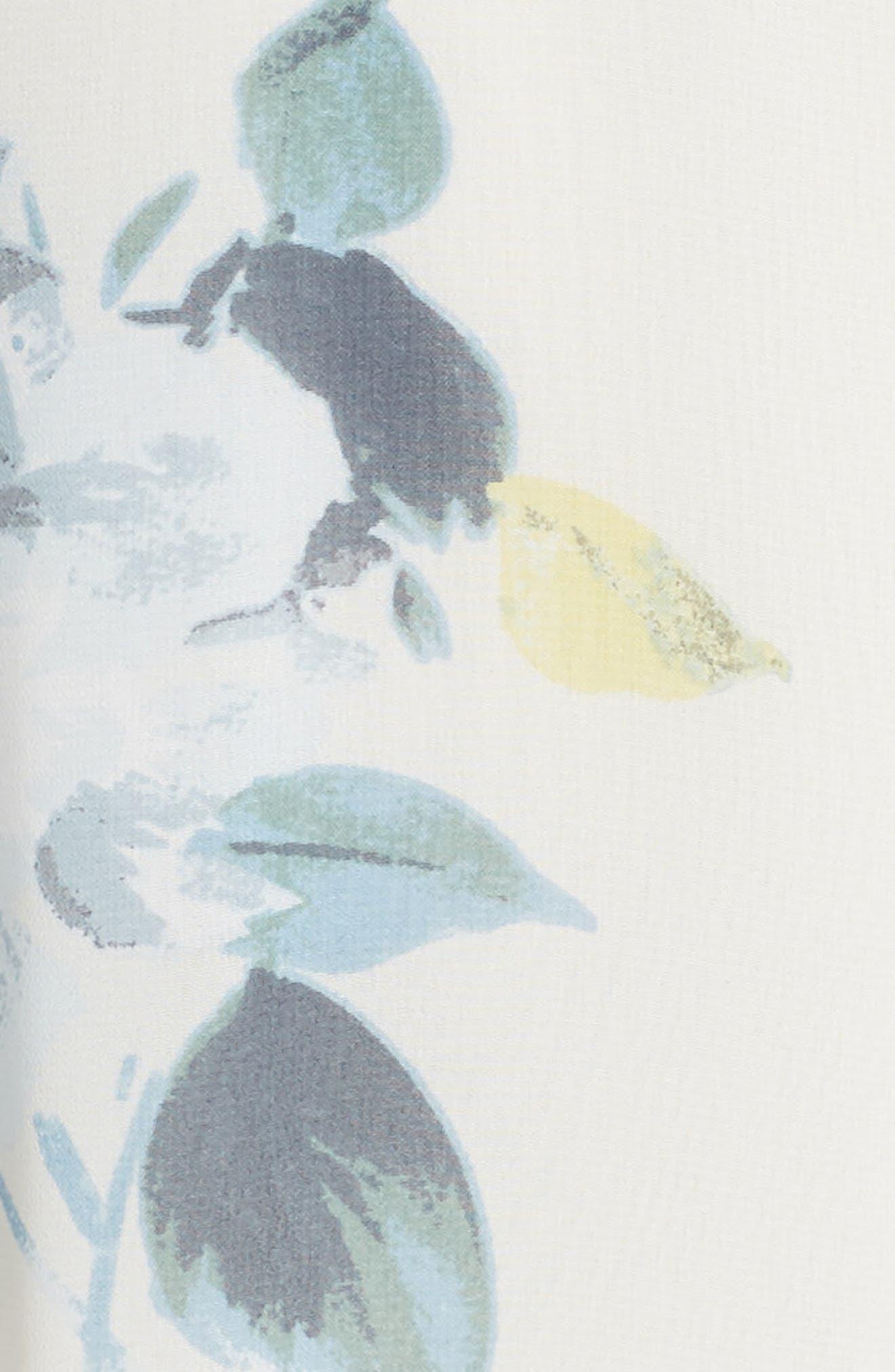 Alanna Ohana Print Open Back Print Chiffon Gown,                             Alternate thumbnail 5, color,                             Soft Sage Blue