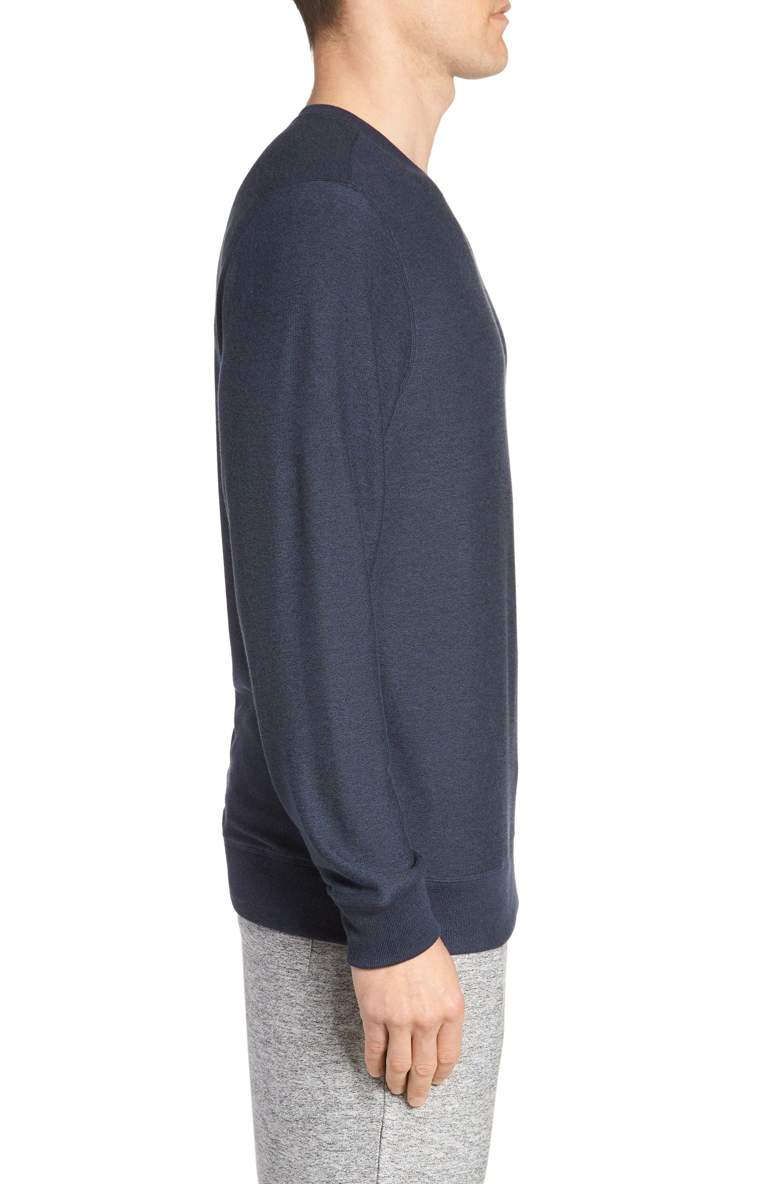 Ultra Soft Crewneck Sweatshirt,                             Alternate thumbnail 3, color,                             Navy Indigo Marl