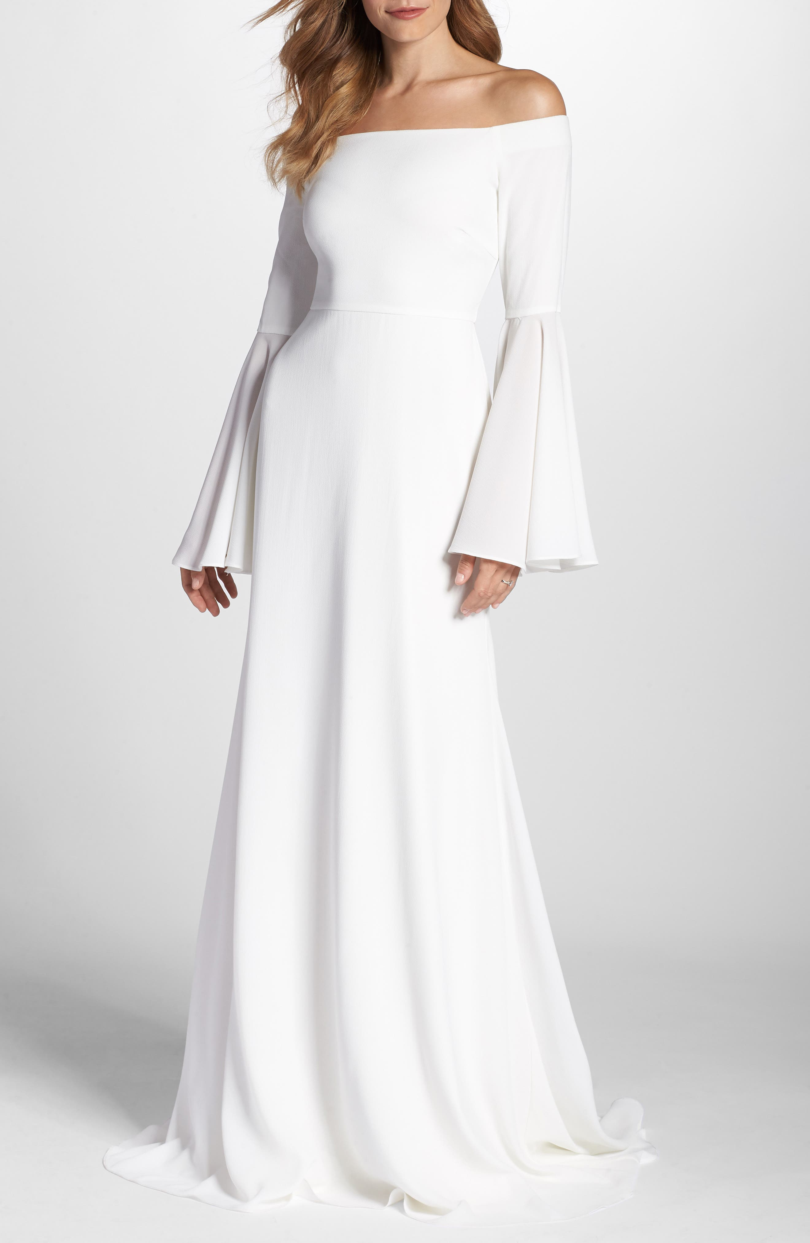 Bowie Off the Shoulder Bell Sleeve Gown,                             Main thumbnail 1, color,                             White