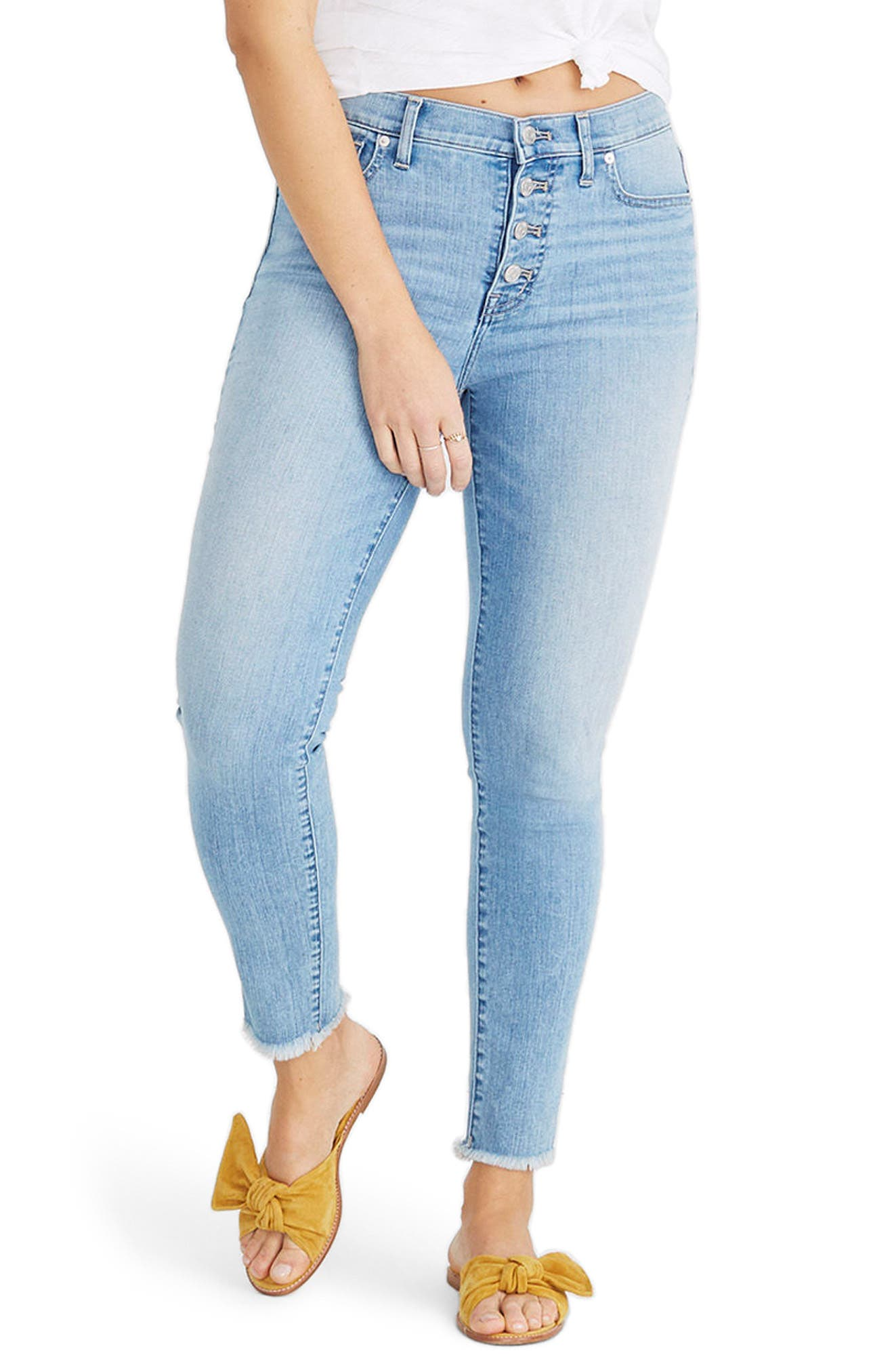 Button Front High Waist Crop Skinny Jeans,                             Main thumbnail 1, color,                             Denton Wash