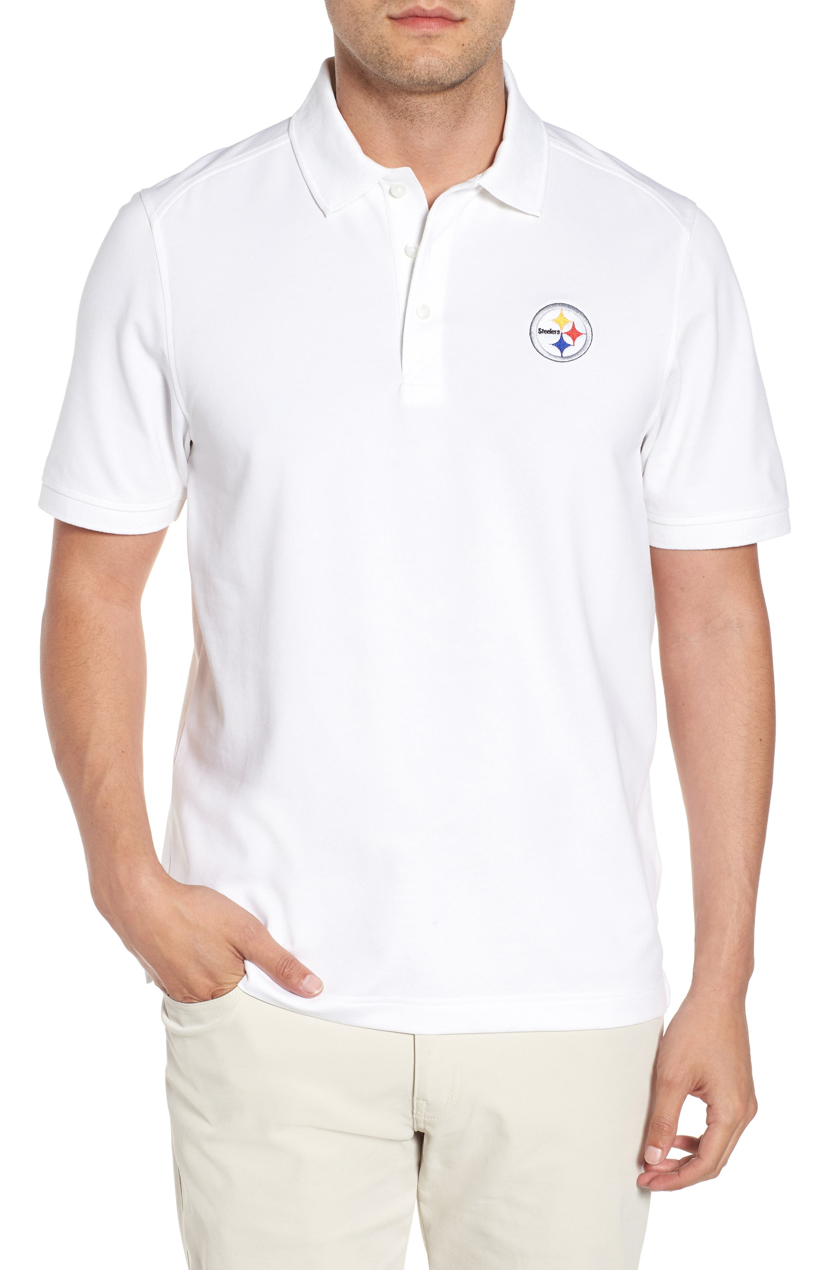 Pittsburgh Steelers - Advantage Regular Fit DryTec Polo,                             Main thumbnail 1, color,                             White