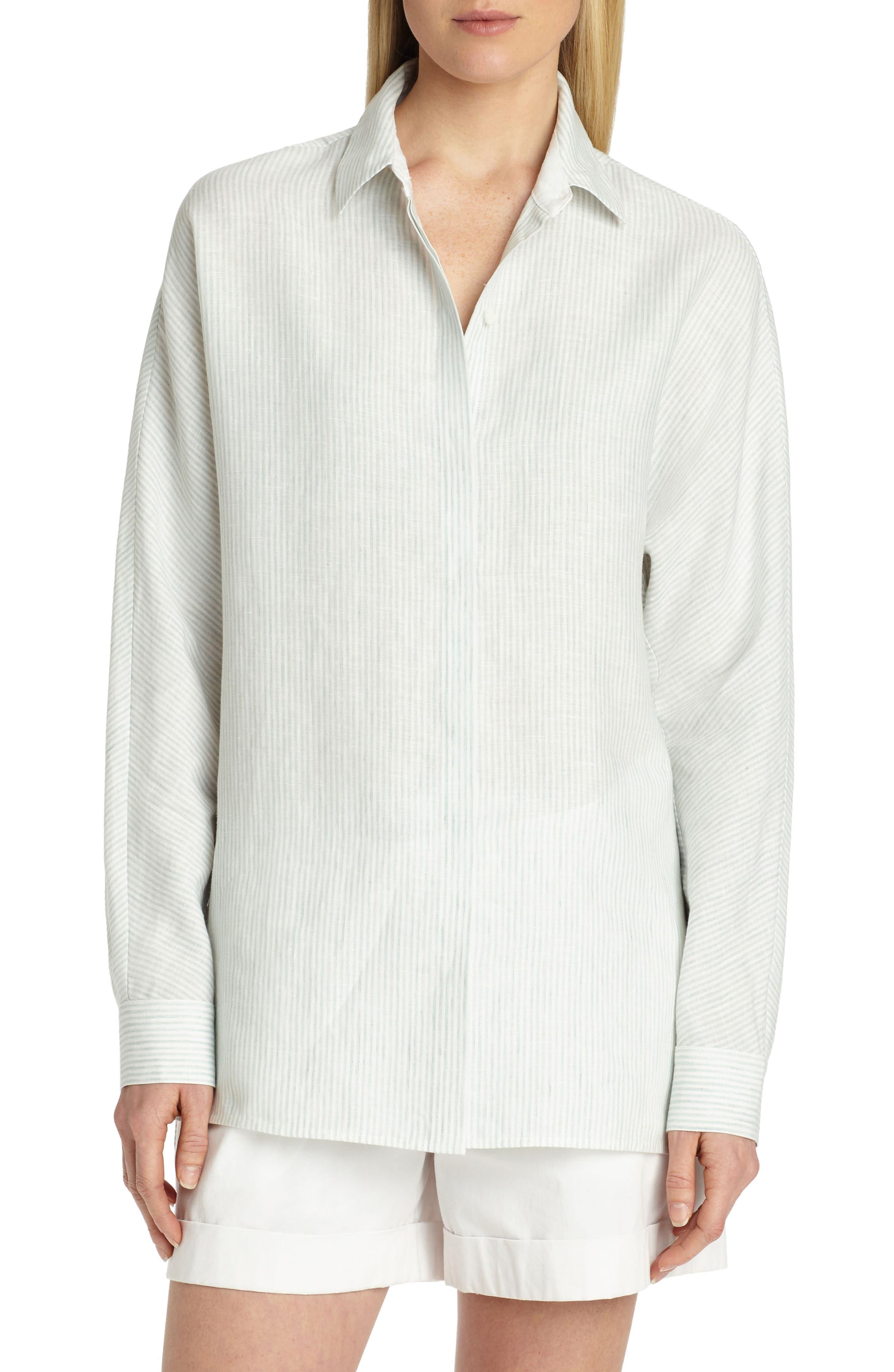 Alyssa Linen Blouse,                         Main,                         color, Herbal Mist Multi